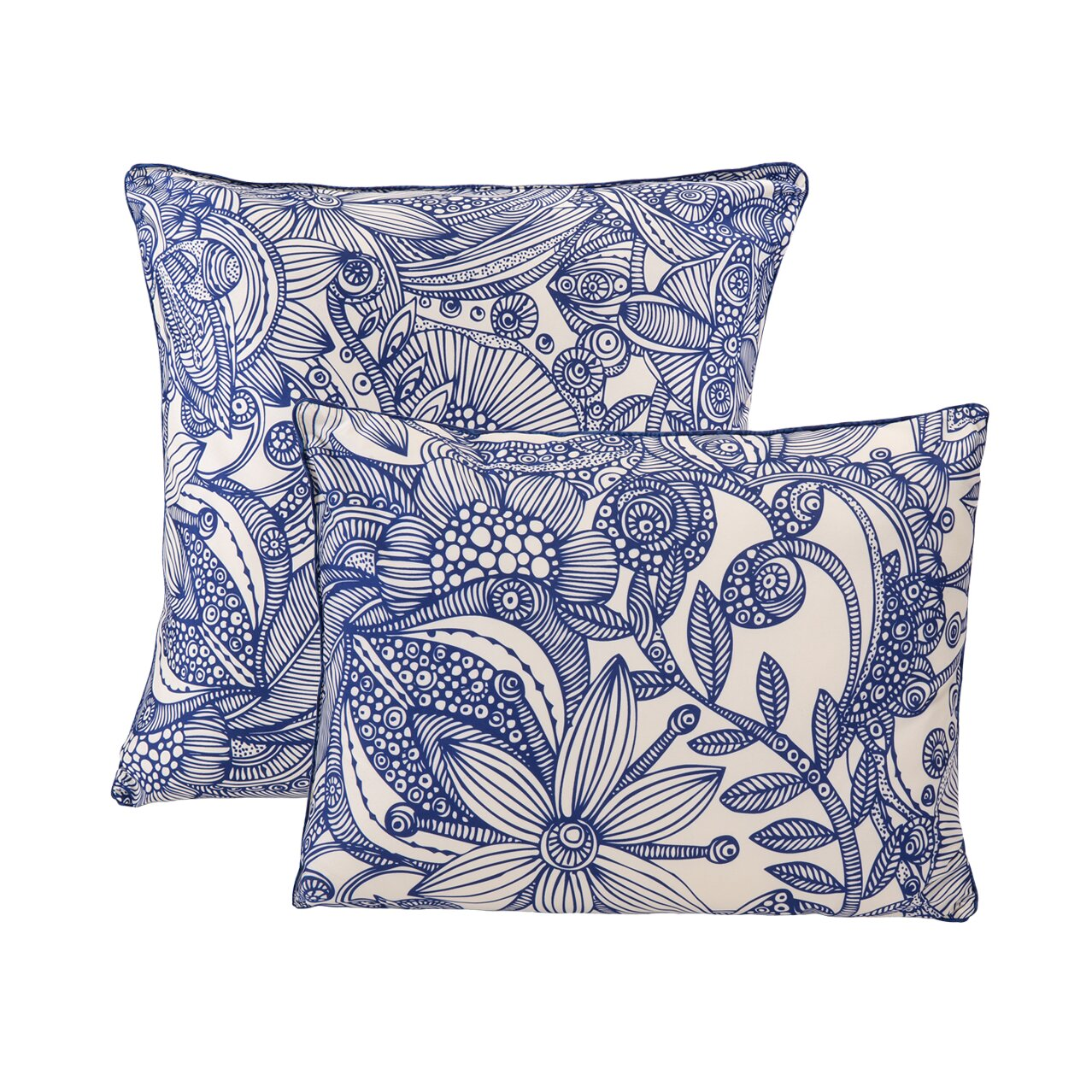 Throw Pillow Doodle : Valentina Flowers and Doodle Microfiber Decorative Throw Pillow Wayfair