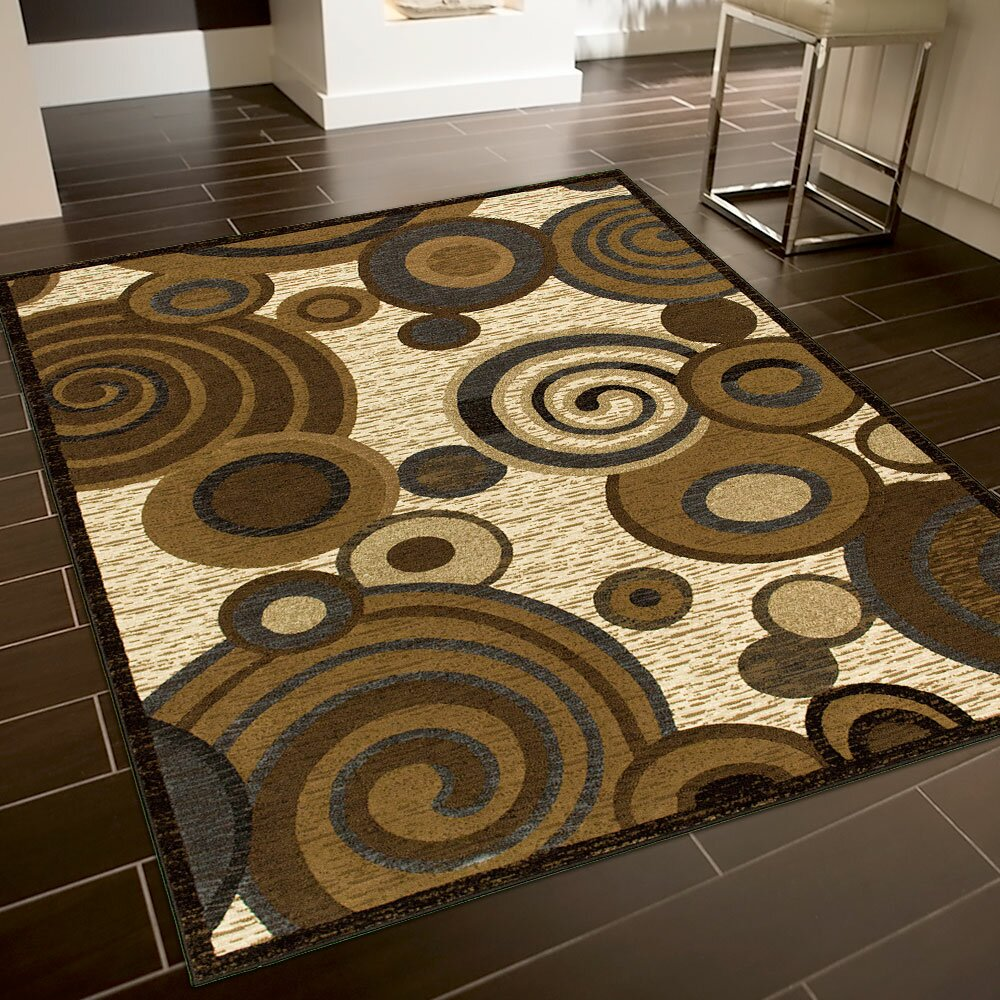 Allstar Rugs Circles Brown Beige Area Rug Wayfair
