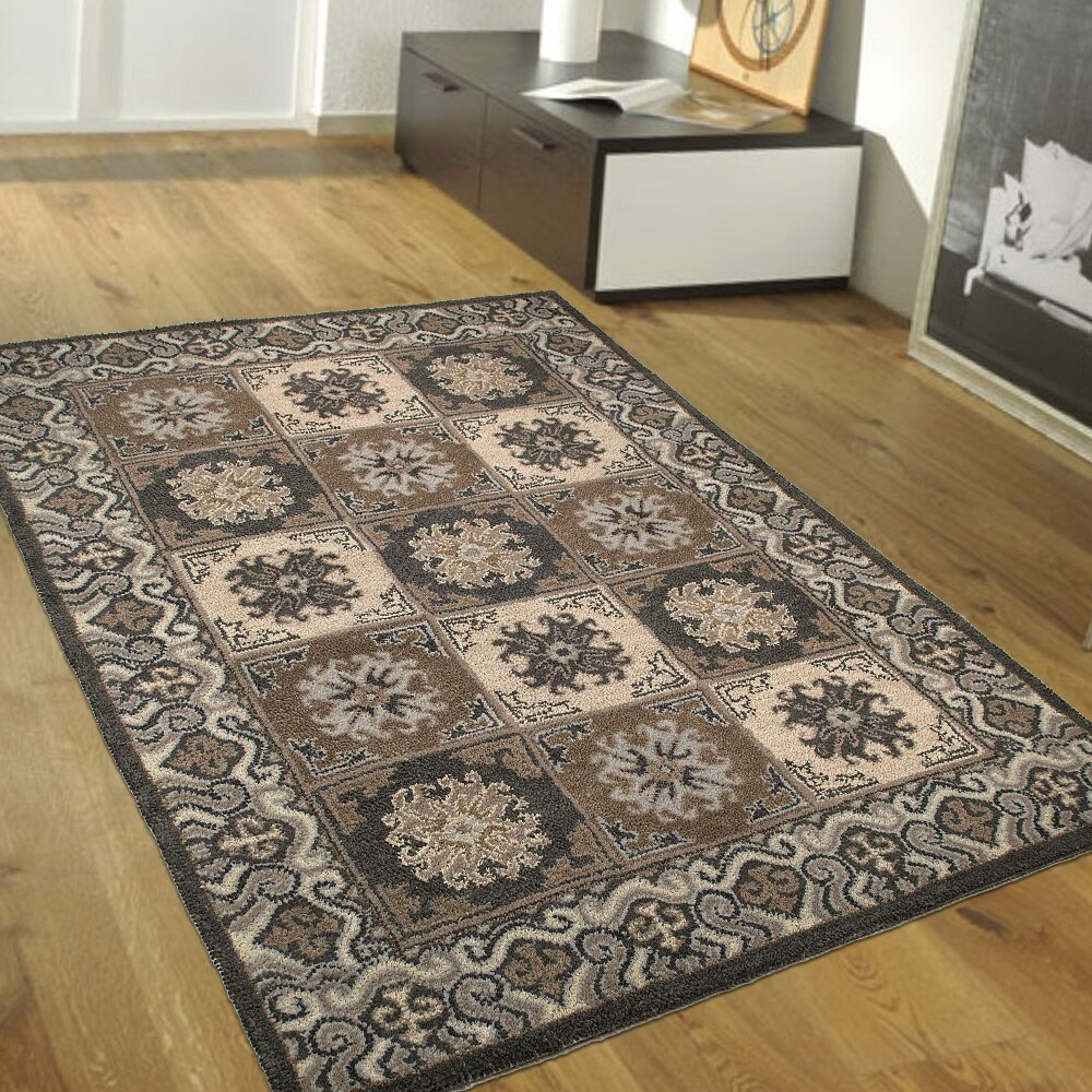 Allstar rugs handmade gray brown area rugs wayfair for Grey and tan rug