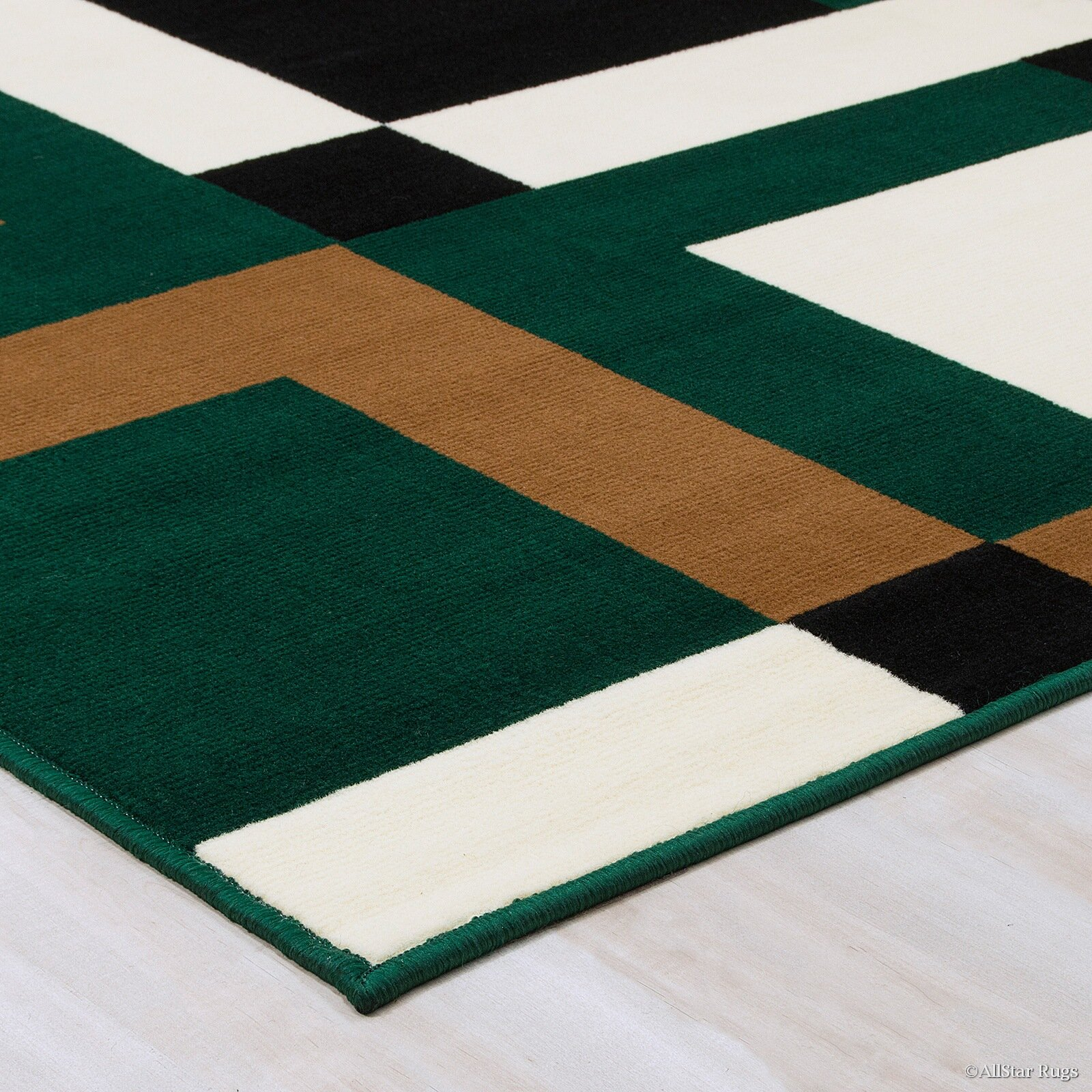 AllStar Rugs Hand-Woven Green/Brown Area Rug
