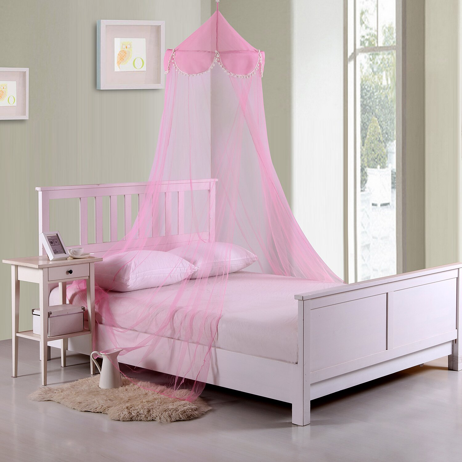 Casablanca kids pom pom kids collapsible hoop sheer bed - Pictures of canopy beds ...