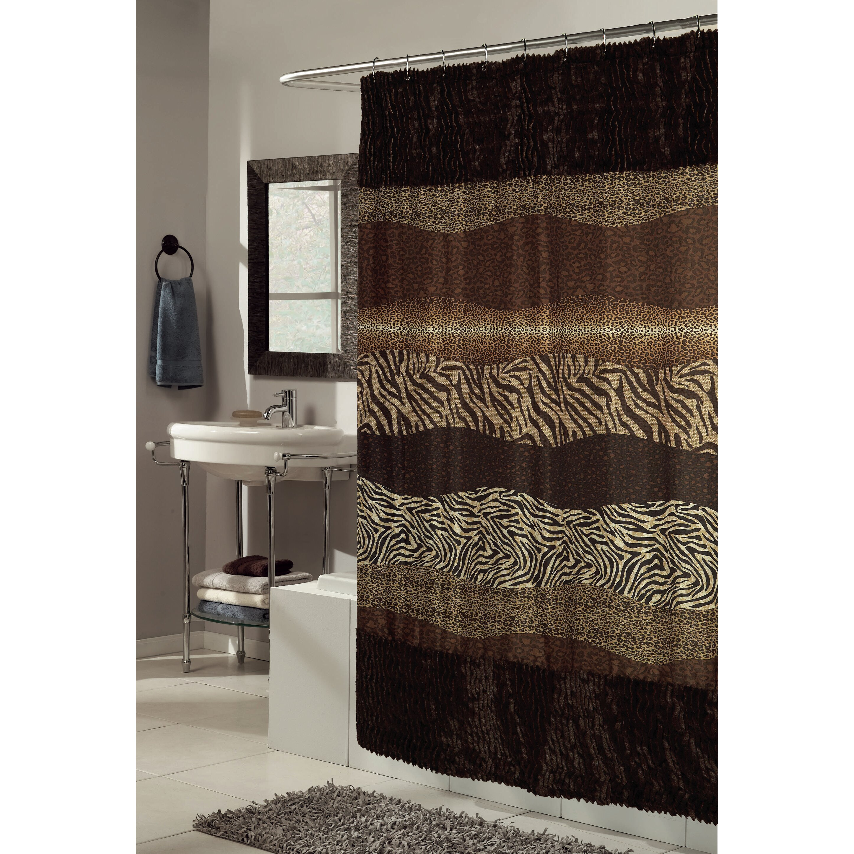 Ben And Jonah Felina Faux Fur Trimmed Shower Curtain