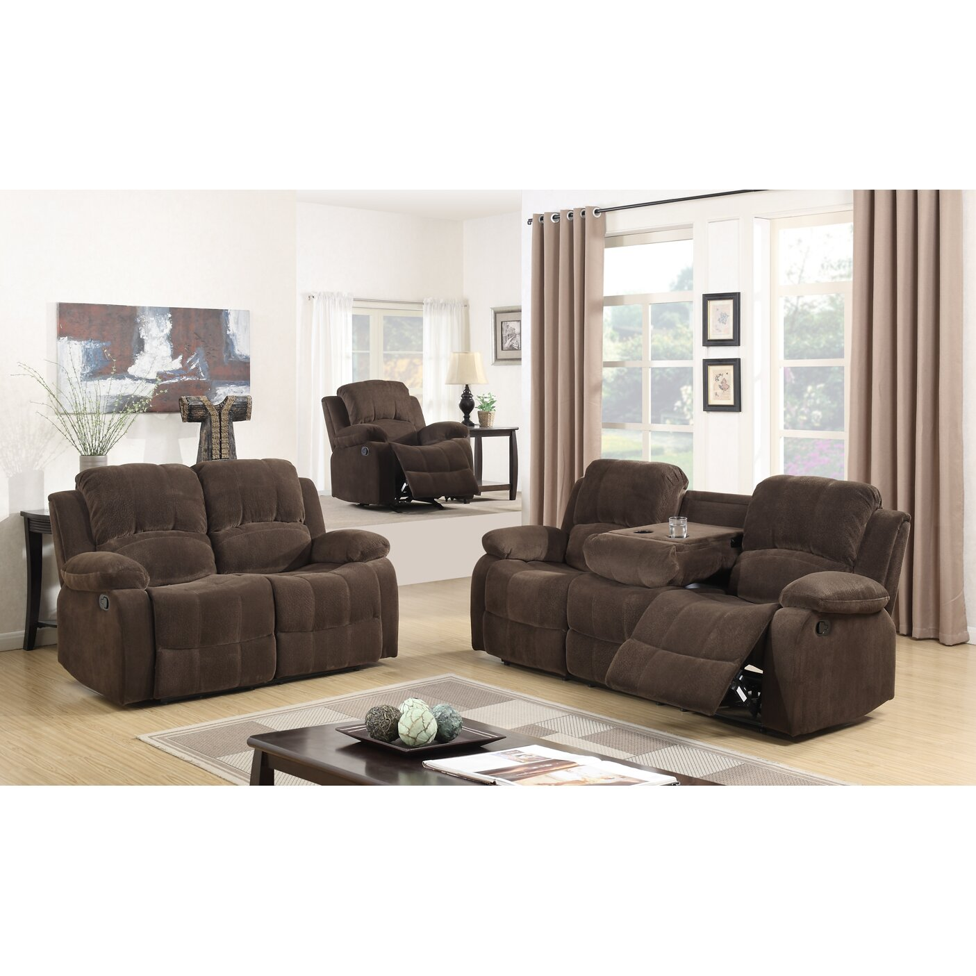 Best Quality Furniture Fabric 3 Piece Recliner Living Room Set Wayfair