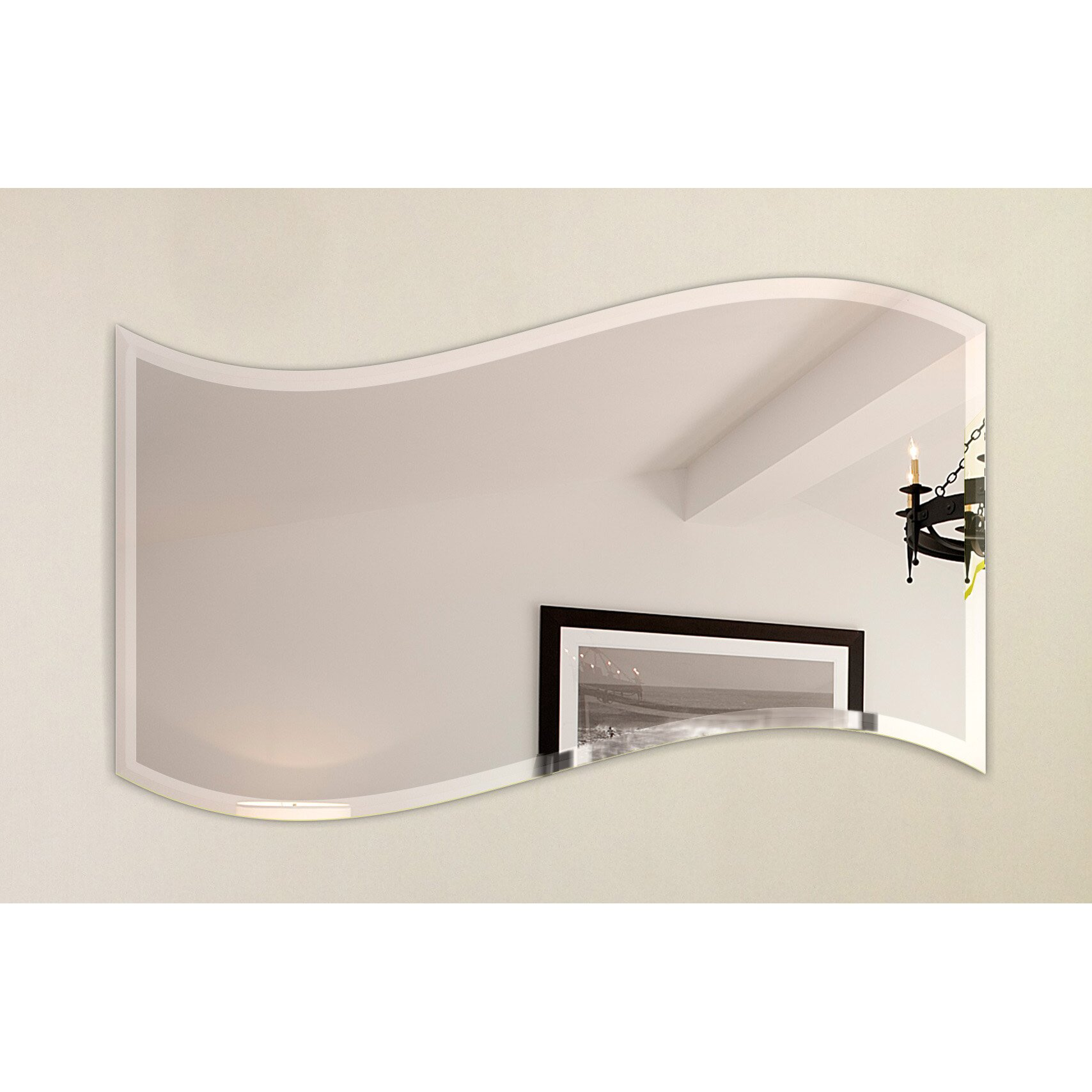 Fab glass and mirror wavy beveled polish frameless wall for Frameless wall mirror