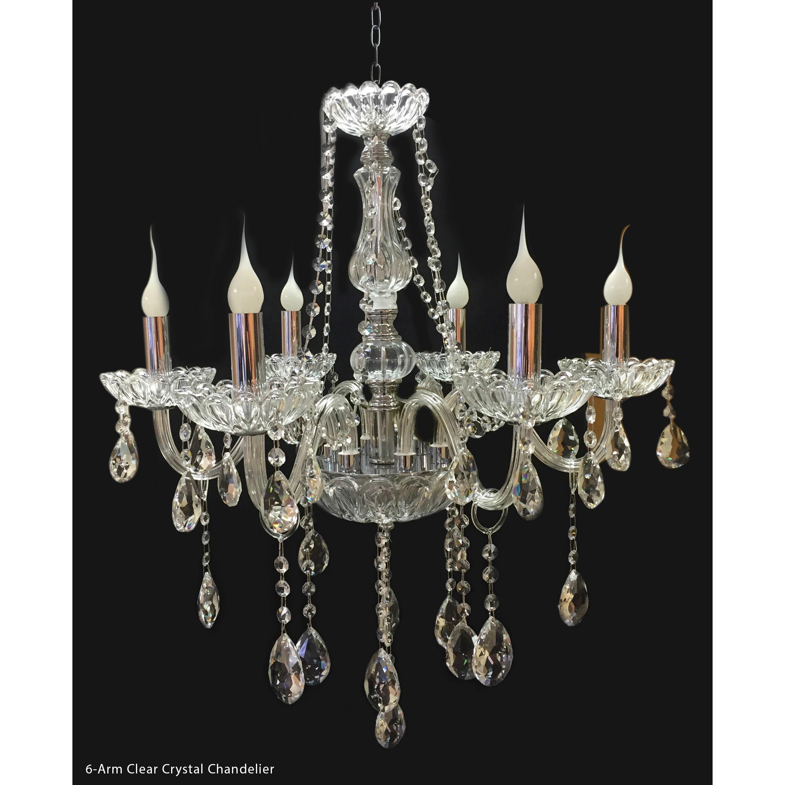 Royaldesigns 6 light crystal chandelier wayfair for 6 light crystal chandelier