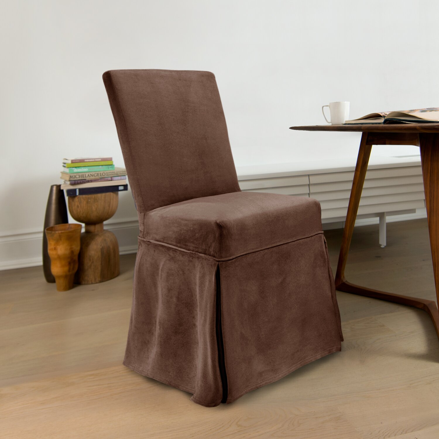 cabersurefit suede parson chair skirted slipcover