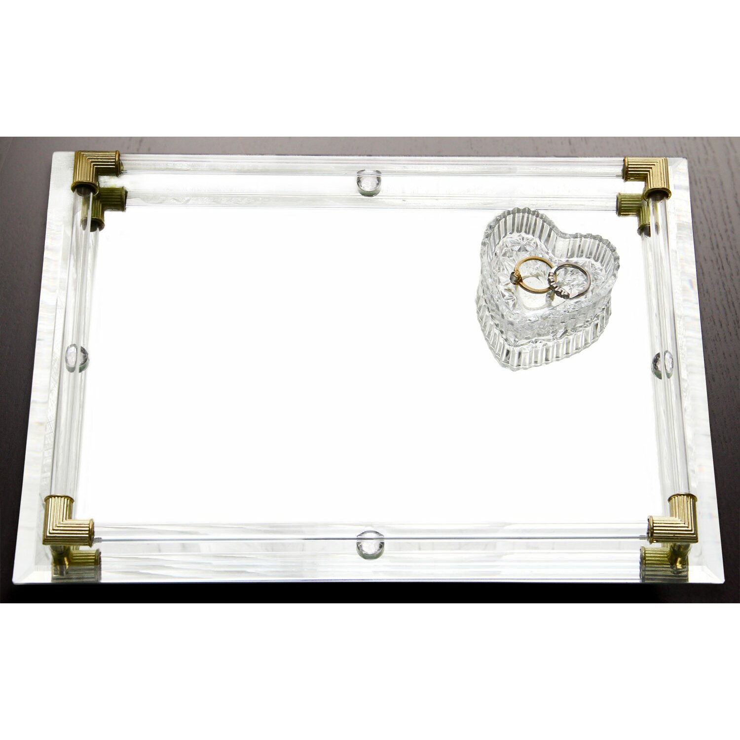 Design Guild Mirror Vanity Tray With Gold Corner Accents