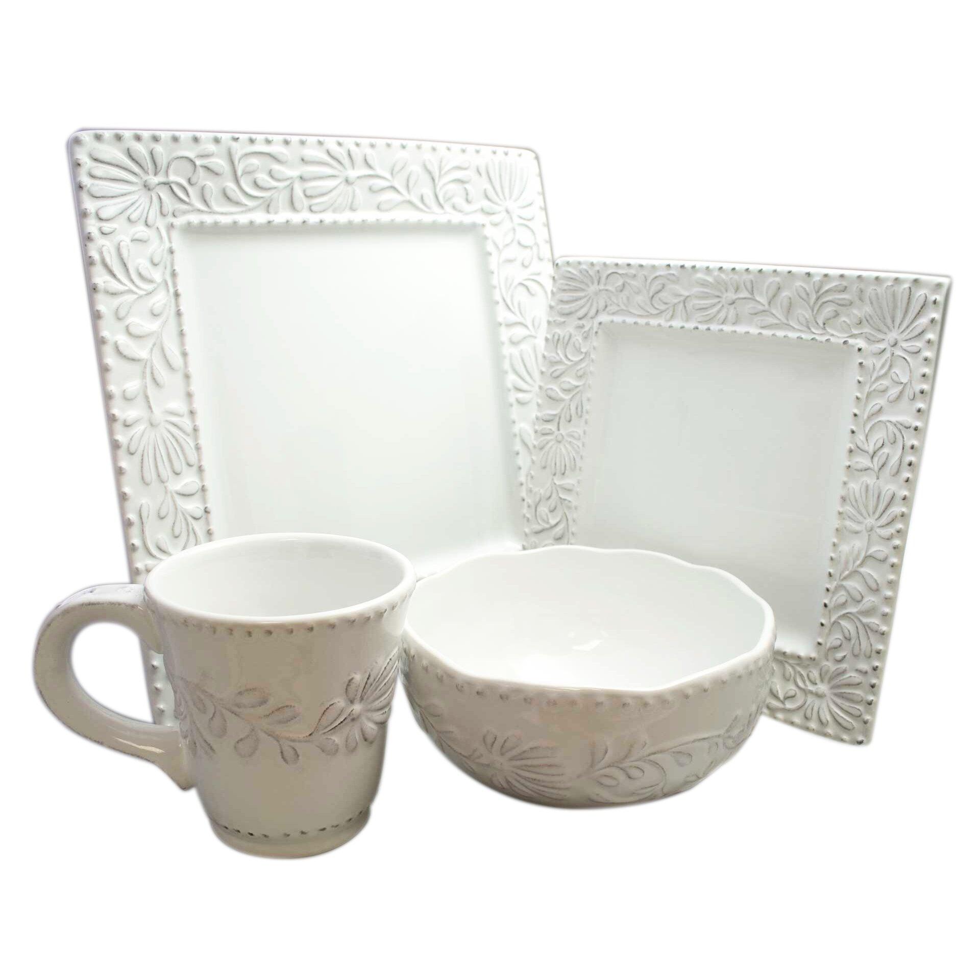 design guild bianca leaf square 16 piece dinnerware set. Black Bedroom Furniture Sets. Home Design Ideas
