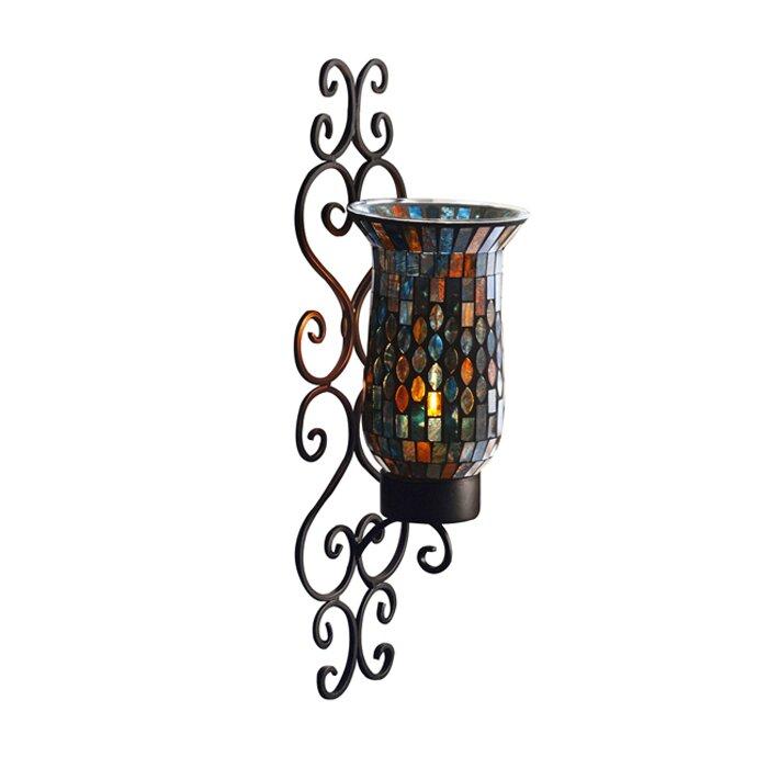 Wayfair Brass Wall Sconces : Design Guild Mosaic Glass and Metal Wall Sconce & Reviews Wayfair