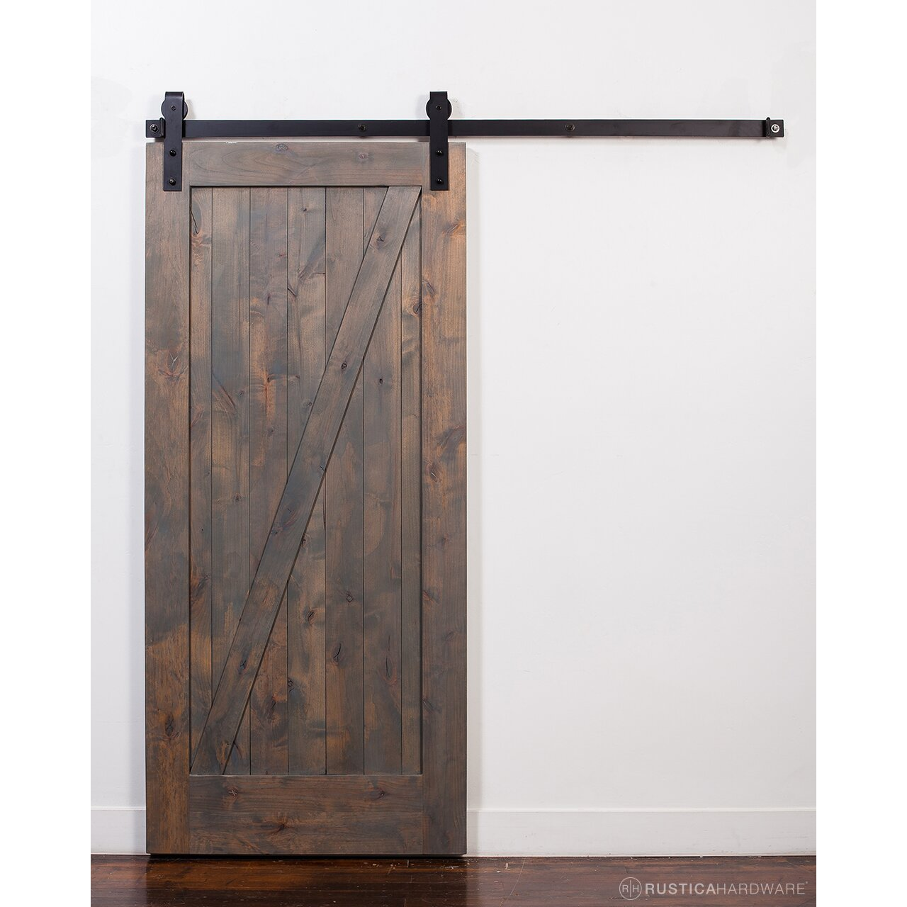 Rusticahardware wood 1 panel stained sliding barn interior for Sliding panel doors interior