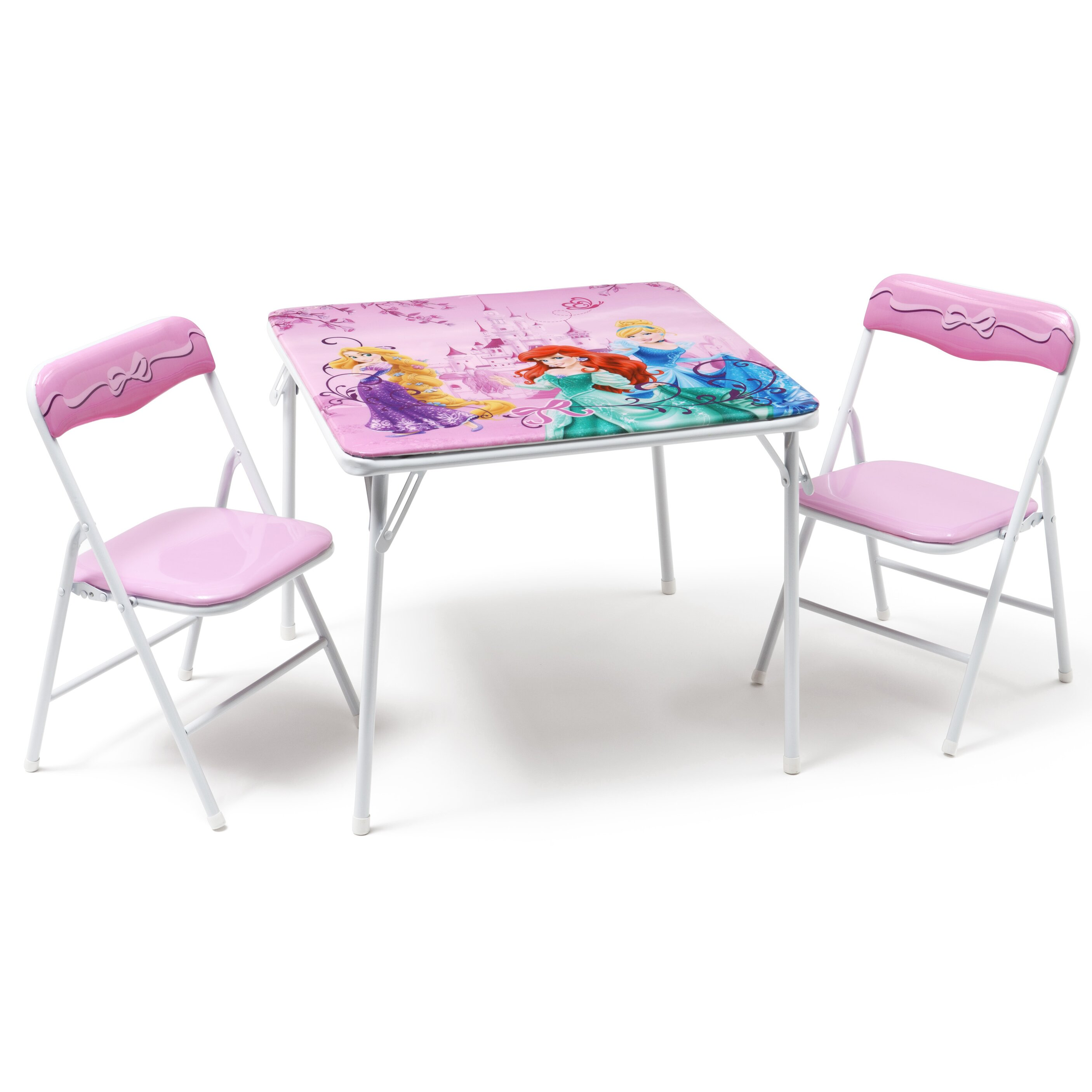 DeltaChildren Princess Folding Children 3 Piece Square Table and Chair Set