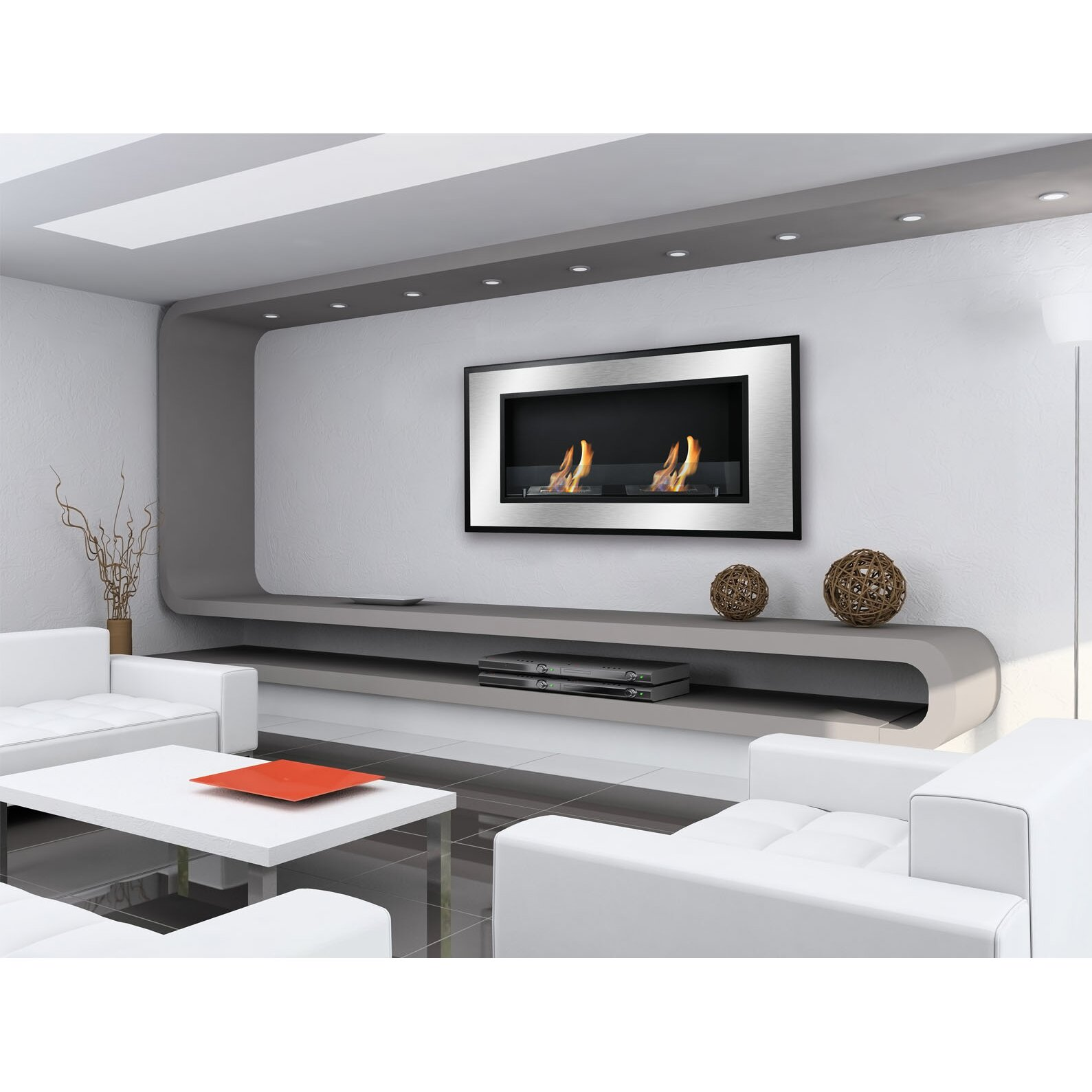 Ignis Bellezza Recessed Ventless Wall Mount Ethanol Fireplace