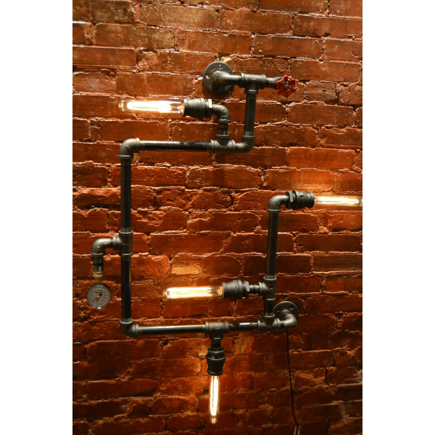 West Ninth Vintage Steampunk 4 Light Industrial Pipe Wall