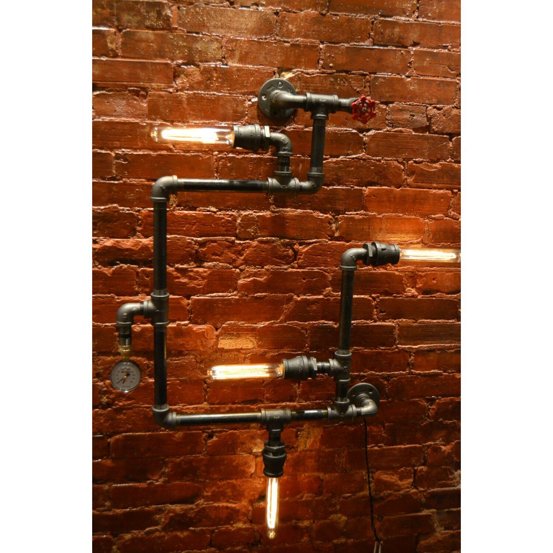 West ninth vintage steampunk 4 light industrial pipe wall for Wayfair industrial lamp
