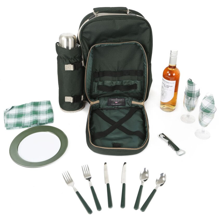 Picnic Basket Backpack Two : Greenfield luxury picnic backpack hamper for two people