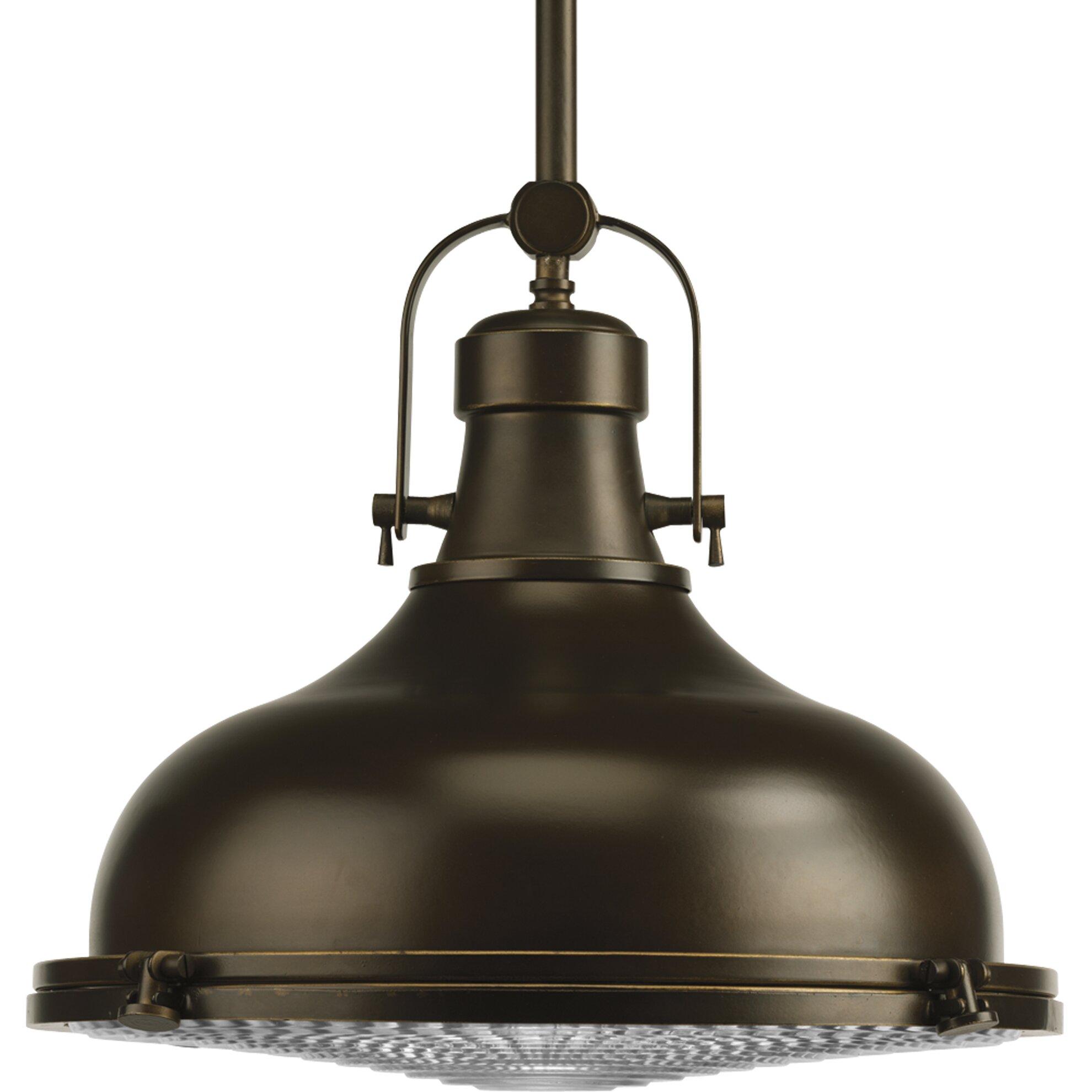 Progress lighting fresnel lens 1 light pendant reviews for Wayfair industrial lamp