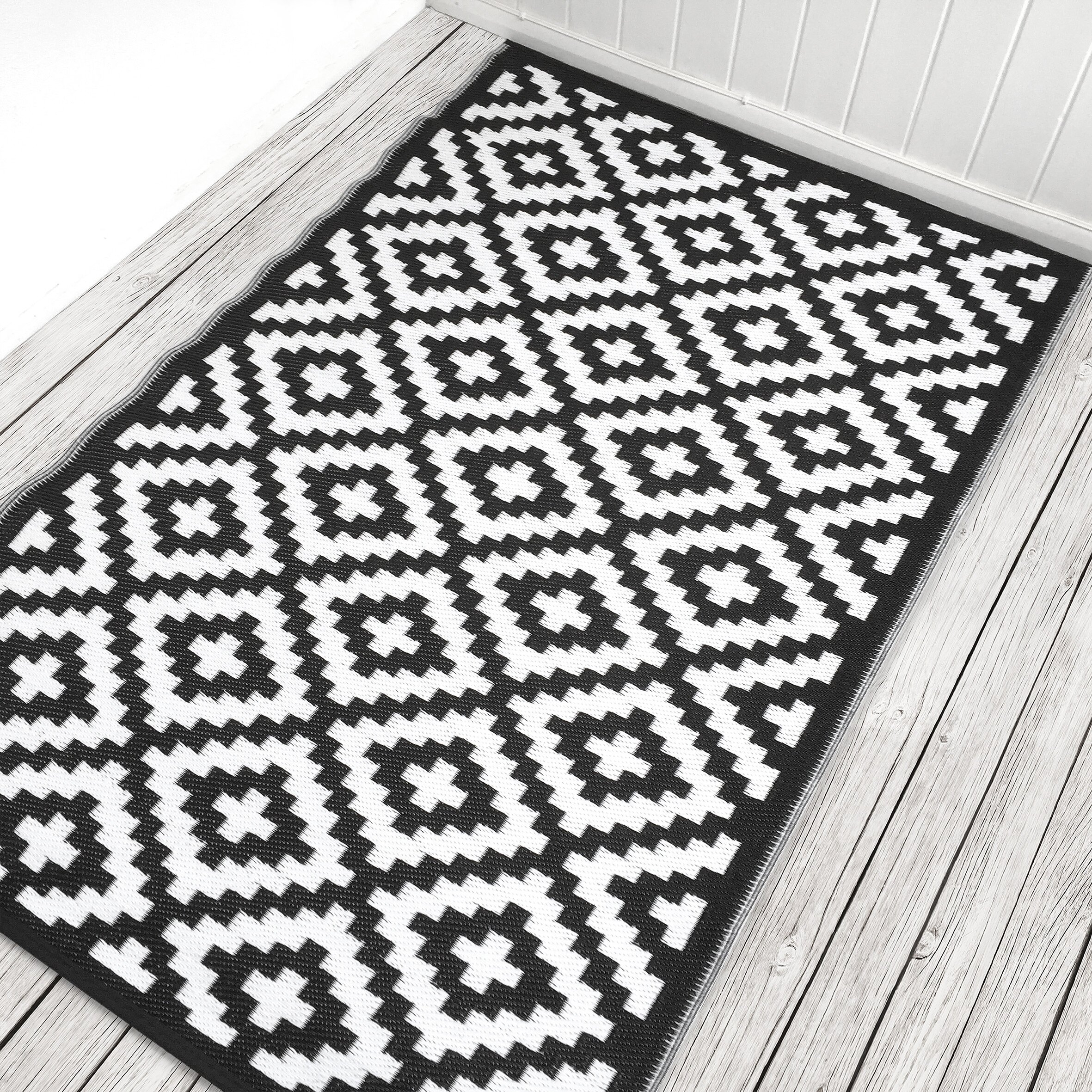 Green Decore Nirvana Black White Indoor Outdoor Area Rug