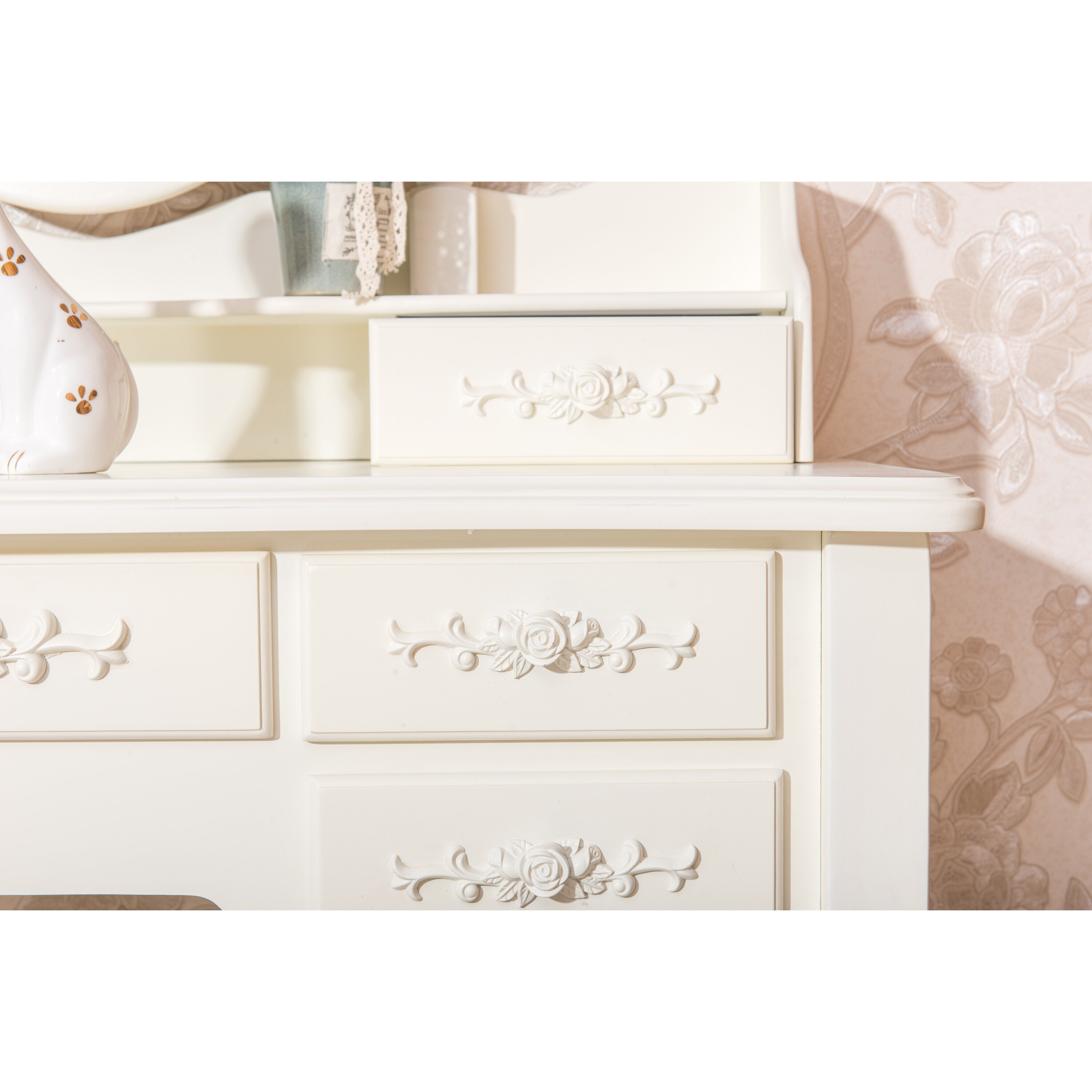 White label co cleopatra 7 drawer vanity set with mirror for Cleopatra bedroom set