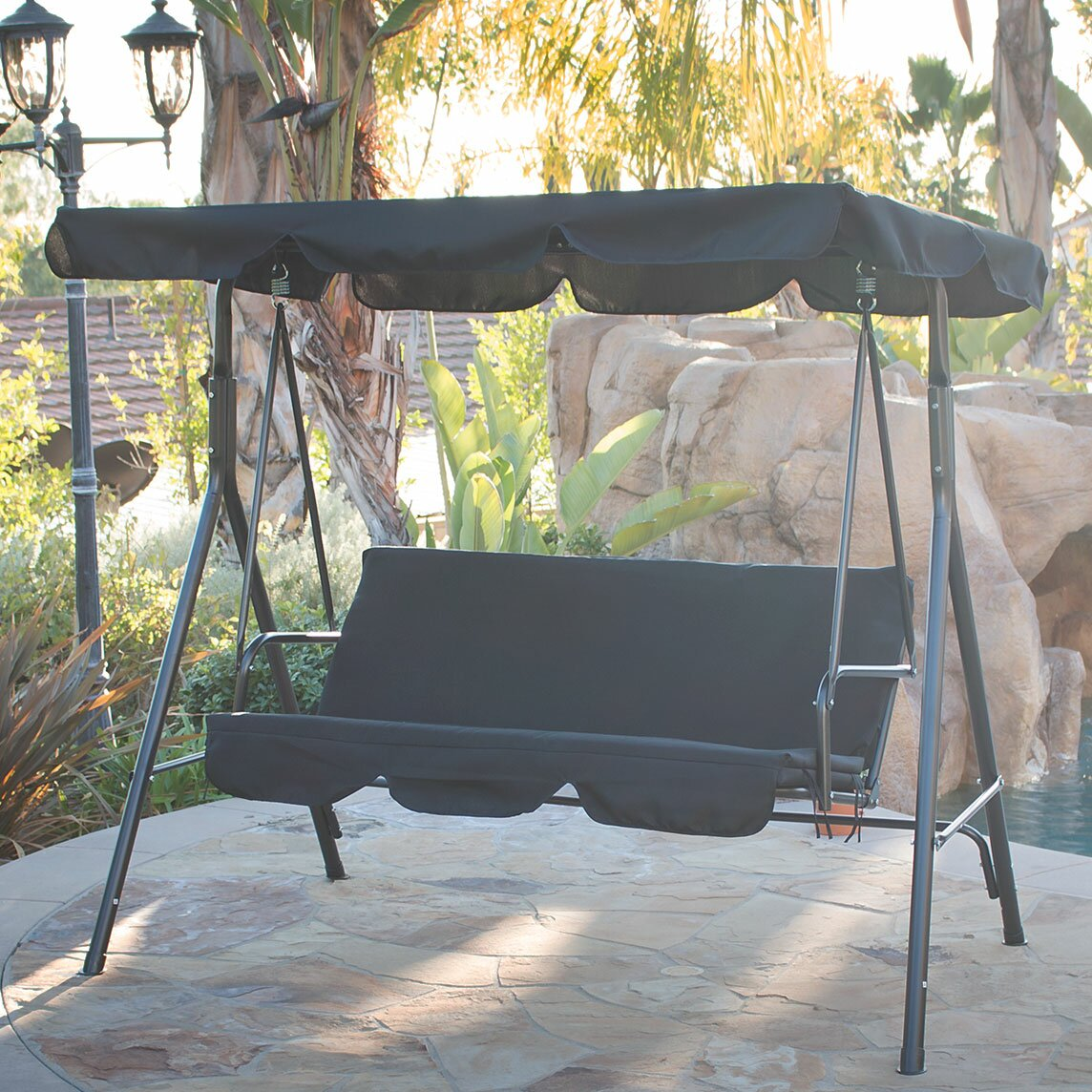 belleze canopy porch swing with stand reviews. Black Bedroom Furniture Sets. Home Design Ideas