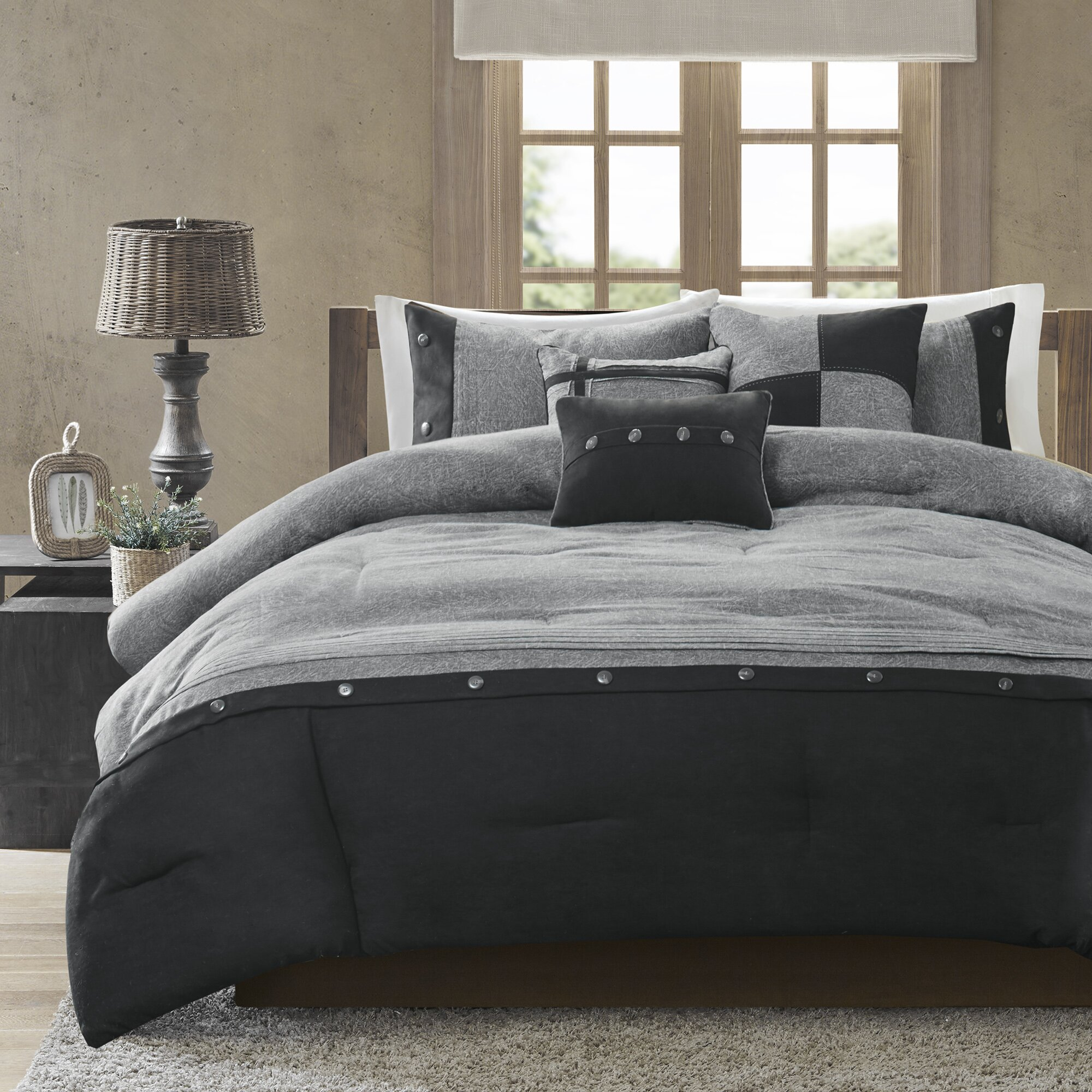 Gray Modern Farmhouse Bedding Novocom Top
