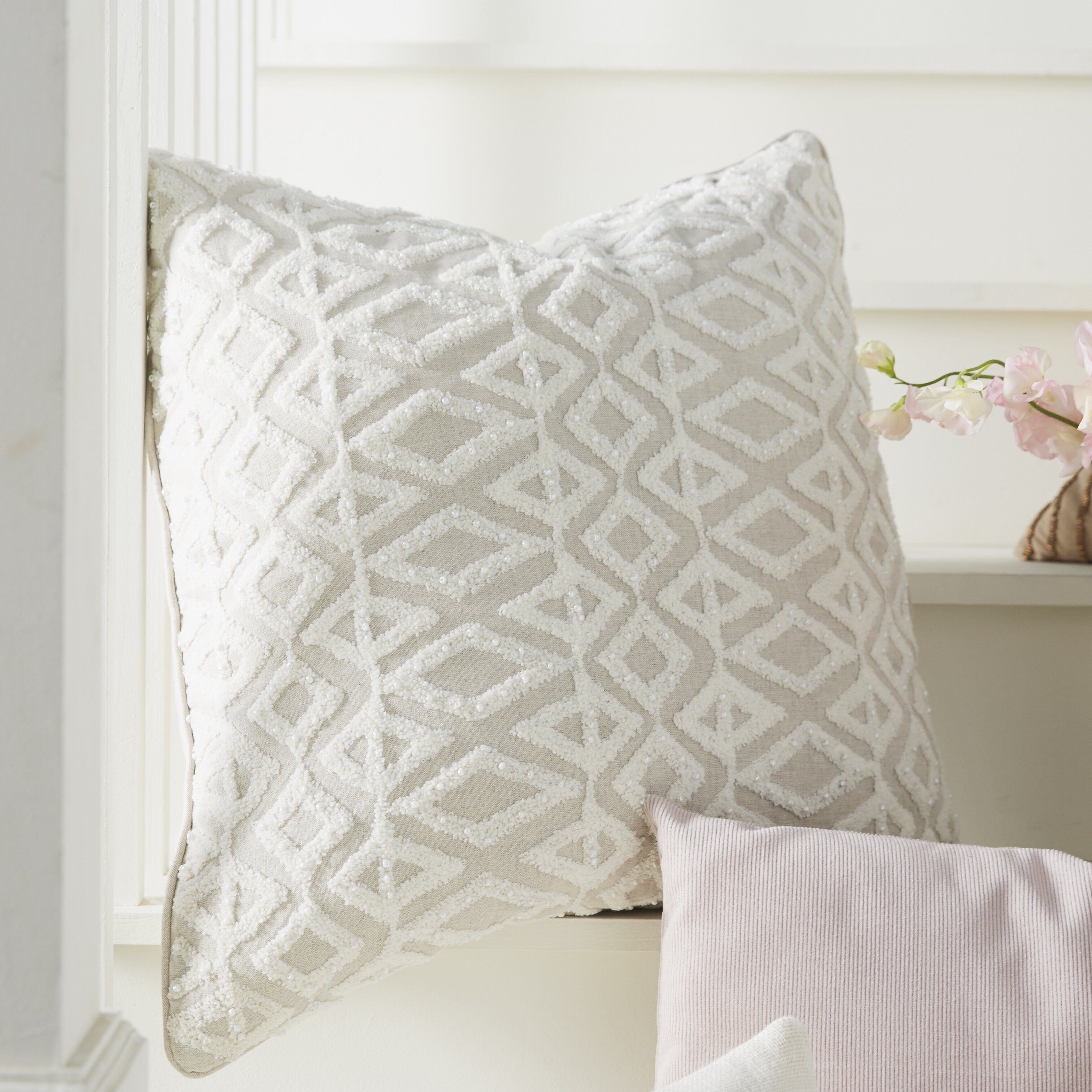 Elements By Erin Gates Diamond Embroidery Linen Throw