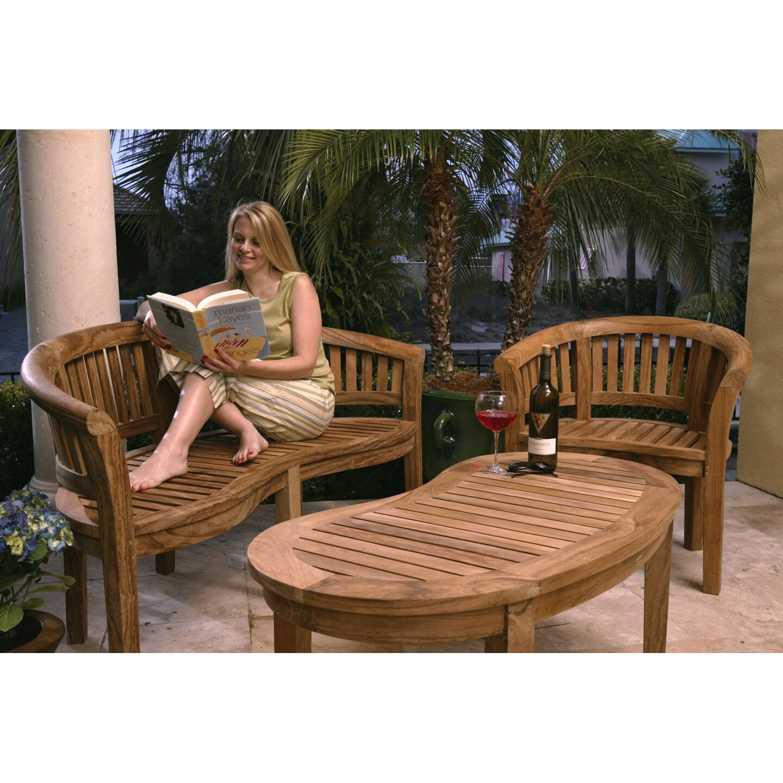 Chic Teak Coffee Table: ChicTeak Peanut Teak Garden Bench