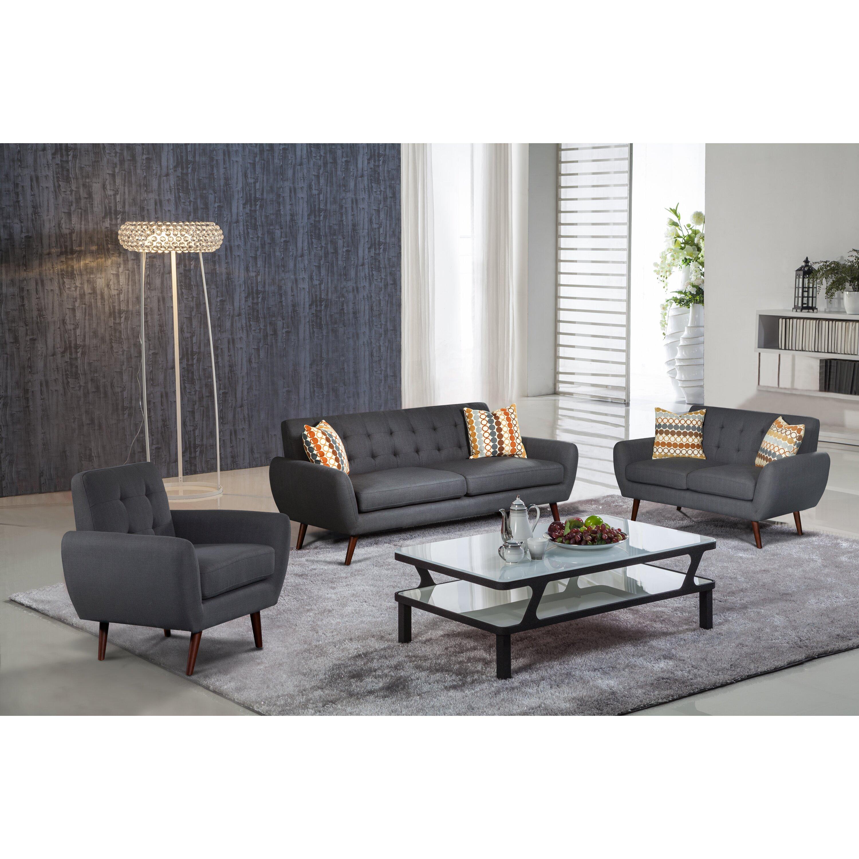 PDAEInc Lola 3 Piece Living Room Set Wayfair