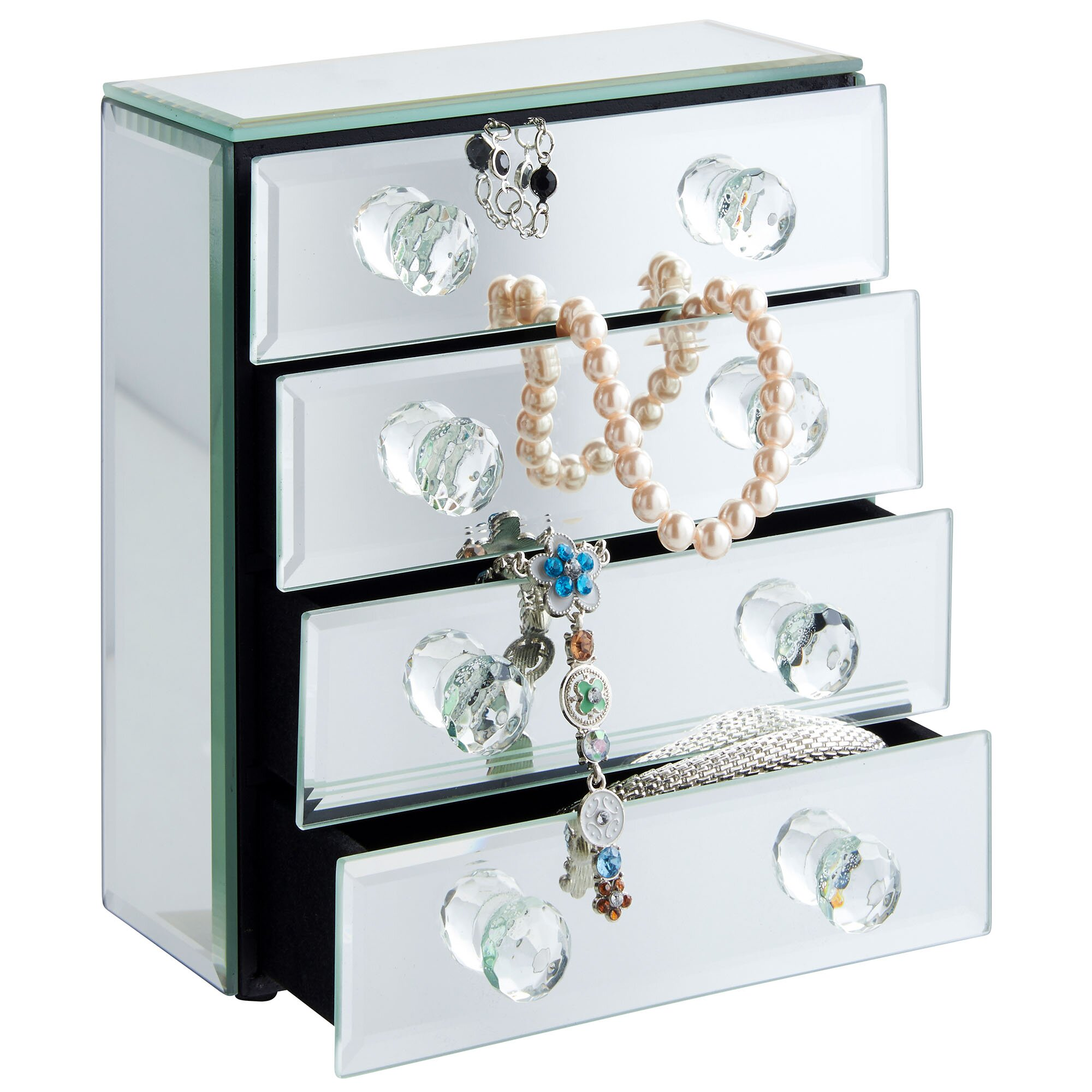 Beautify Mirrored Glass Jewelry Box & Reviews | Wayfair