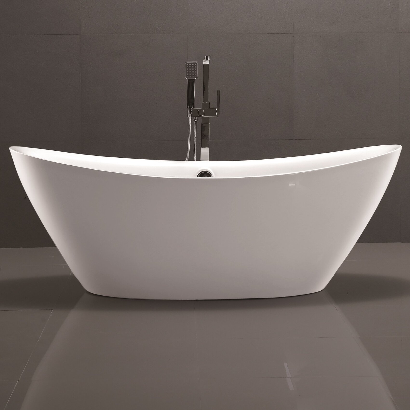 Vanityart 71 x 34 freestanding soaking bathtub for How long is a standard bathtub