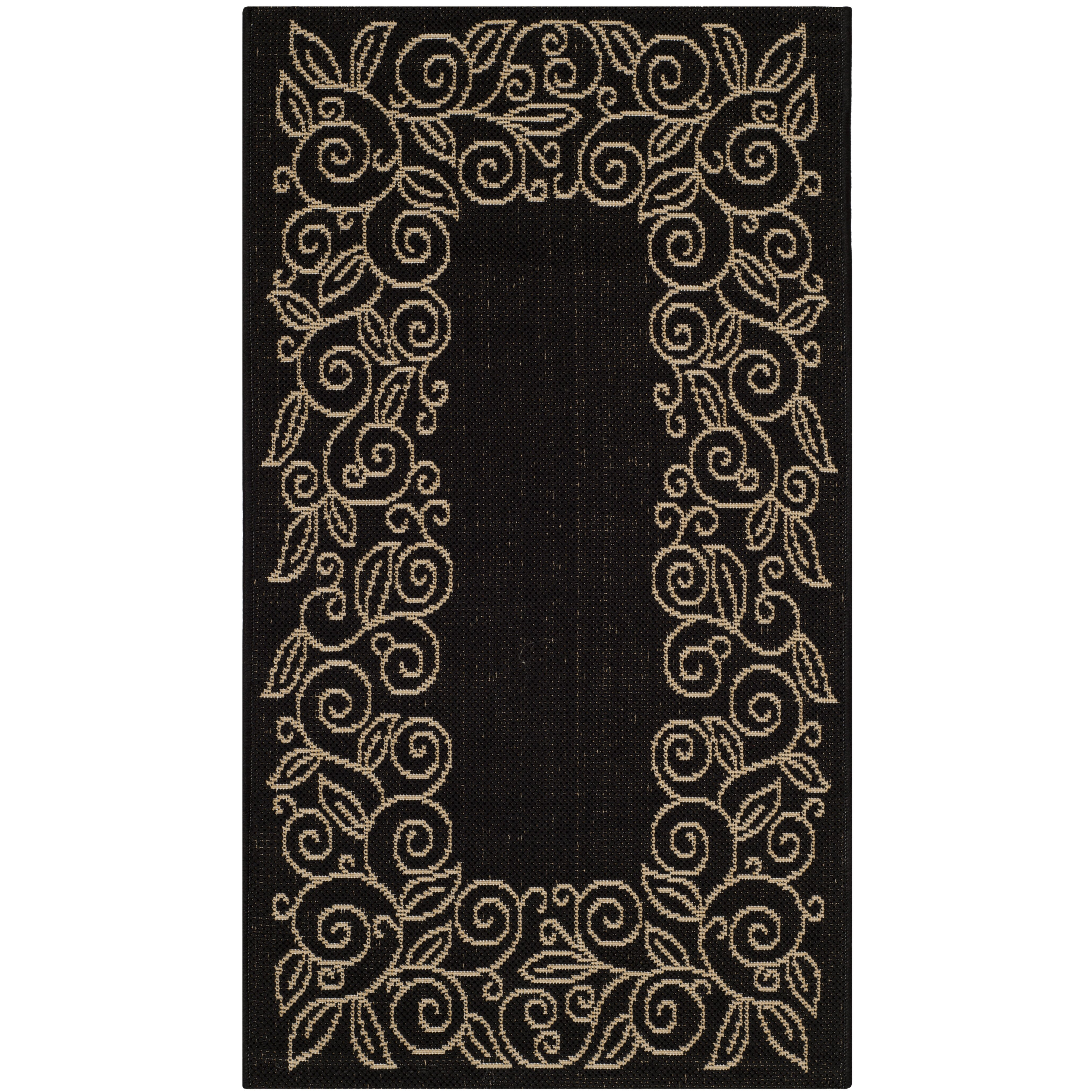 Black And White Rug Outdoor: Safavieh Courtyard Black/Sand Outdoor Rug & Reviews