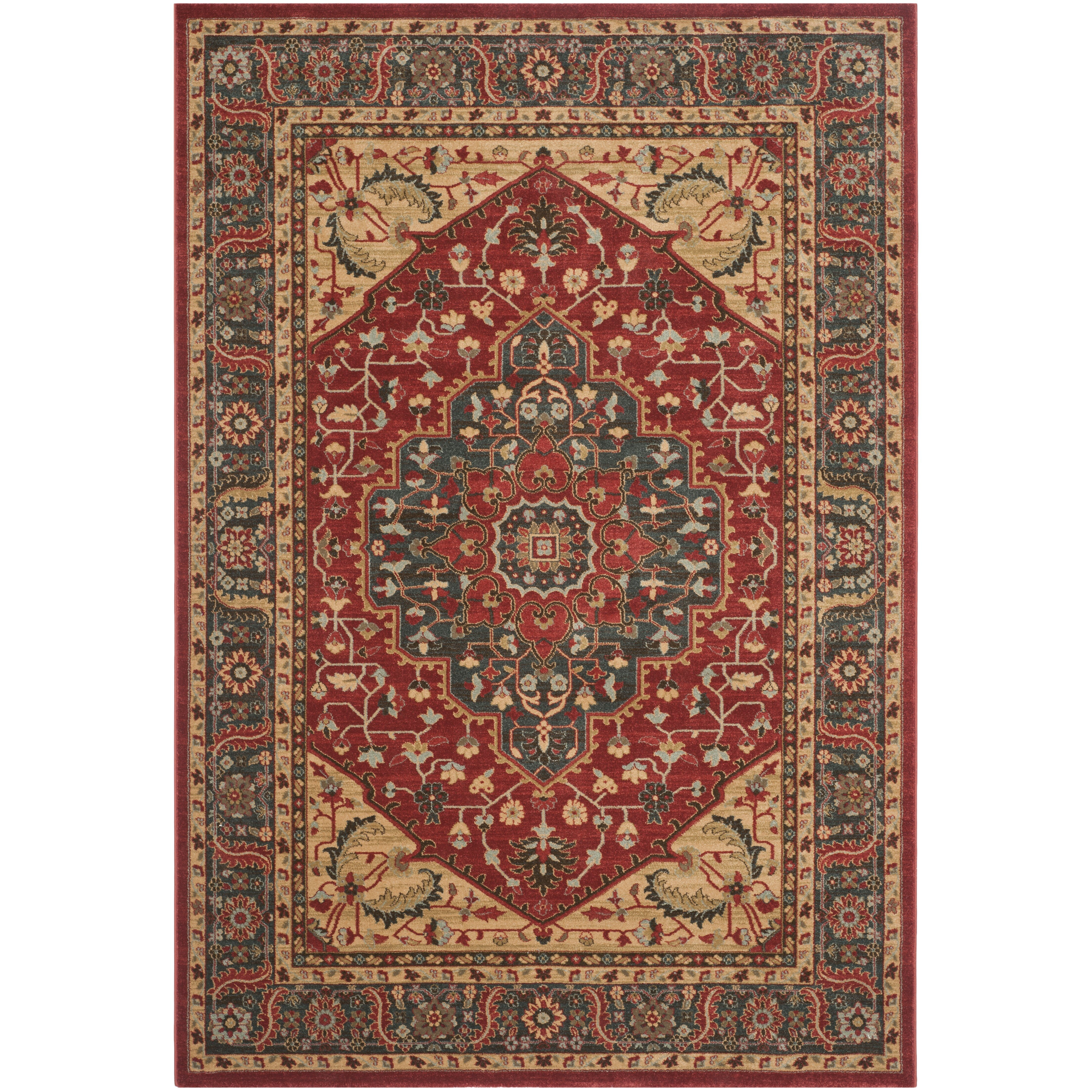 Safavieh mahal navy red area rug reviews wayfair for Red and navy rug