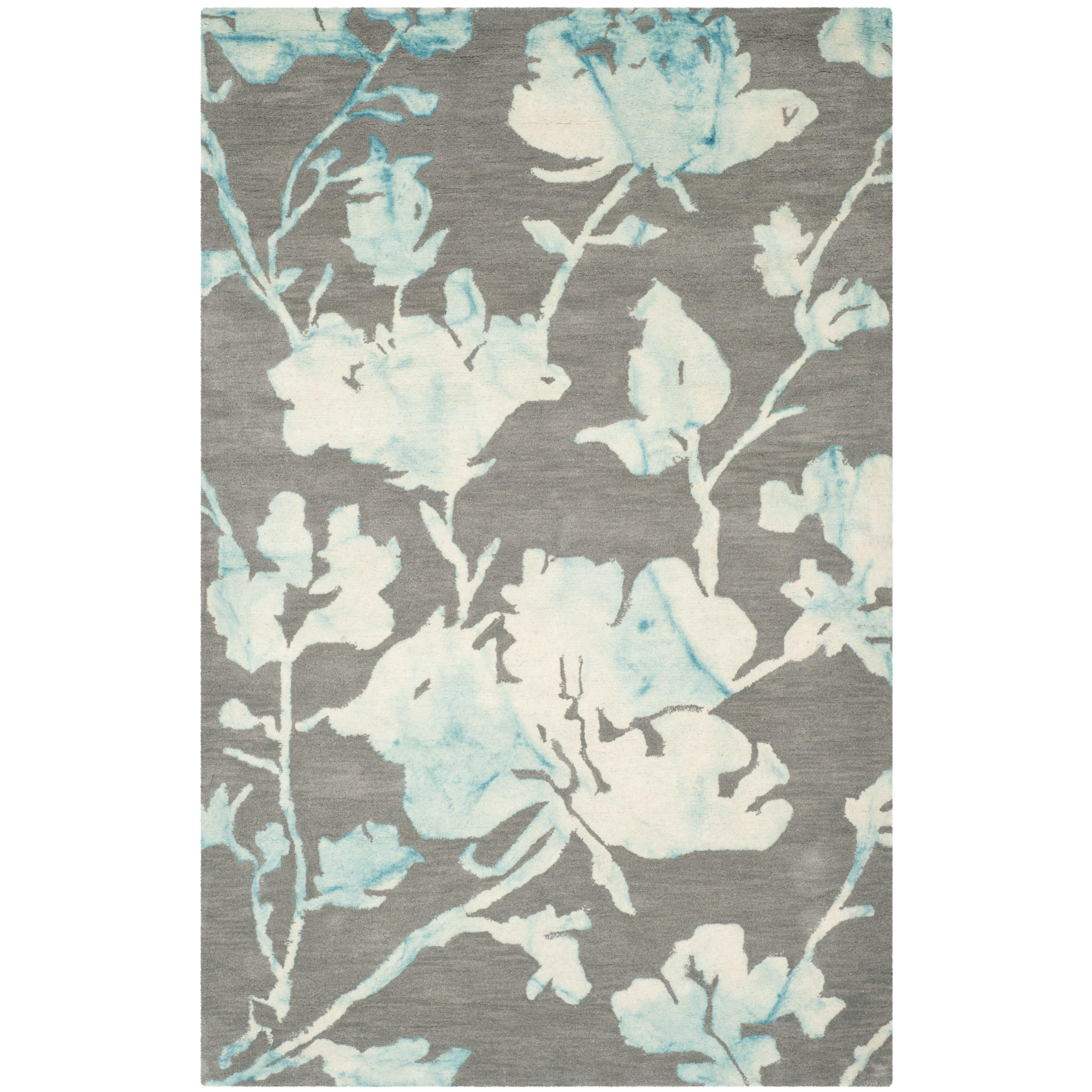 Turquoise Area Rug Amazon Com: Safavieh Dip Dye Gray/Turquoise Area Rug & Reviews
