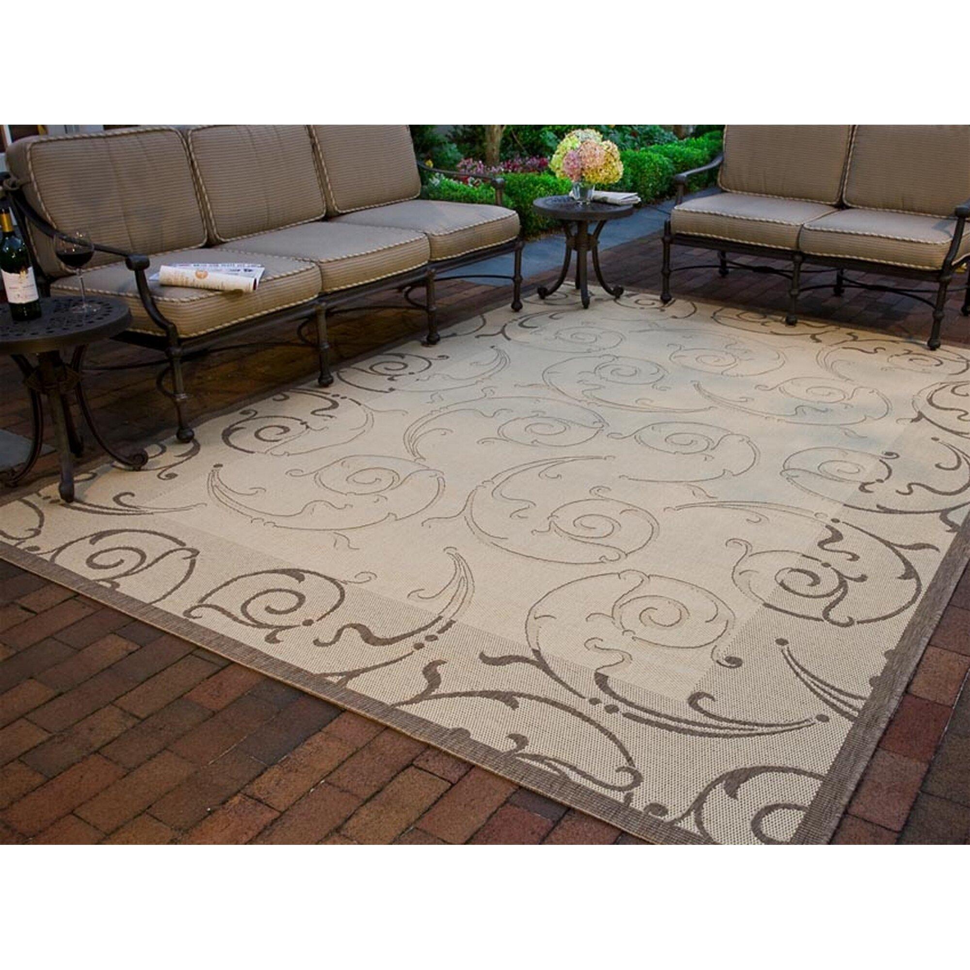 Safavieh courtyard natural brown indoor outdoor area rug for Landscape indoor area rug
