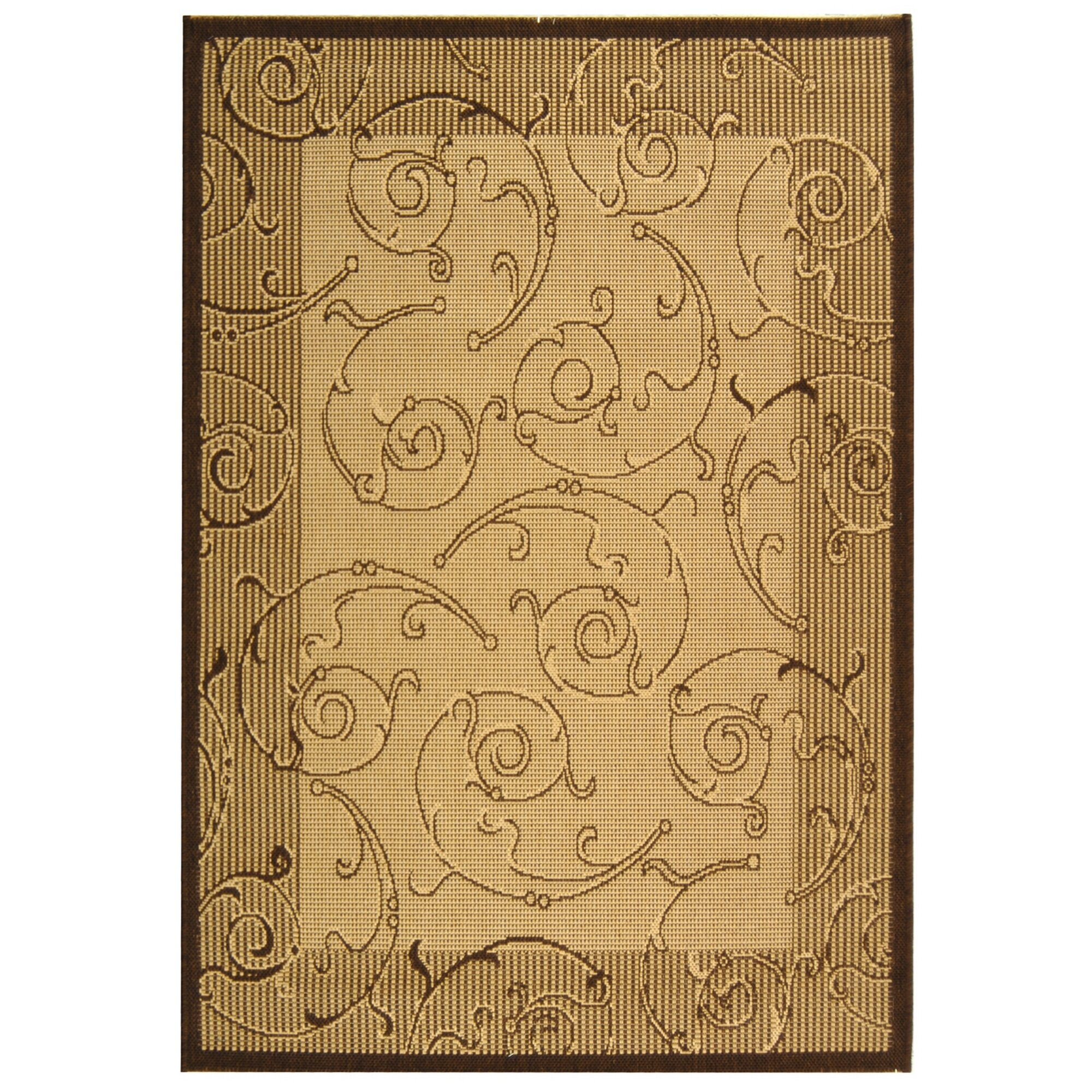 Safavieh courtyard natural brown indoor outdoor area rug for Dining room rugs 9x12