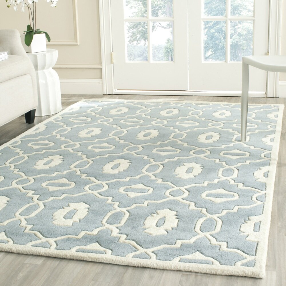 Safavieh Moroccan Blue And Black Area Rug: Safavieh Chatham Blue / Ivory Moroccan Rug & Reviews