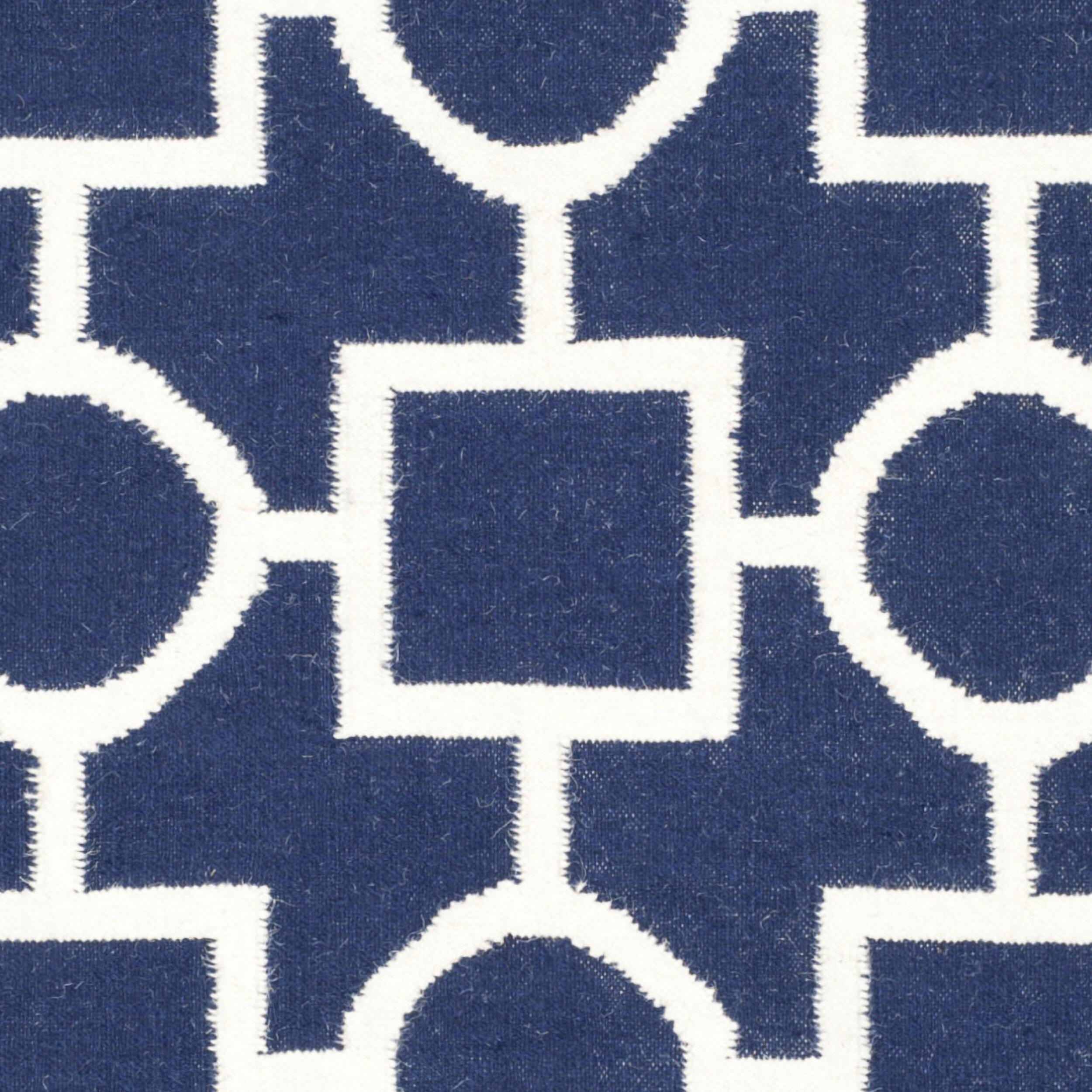 safavieh dhurries navy white area rug wayfair. Black Bedroom Furniture Sets. Home Design Ideas