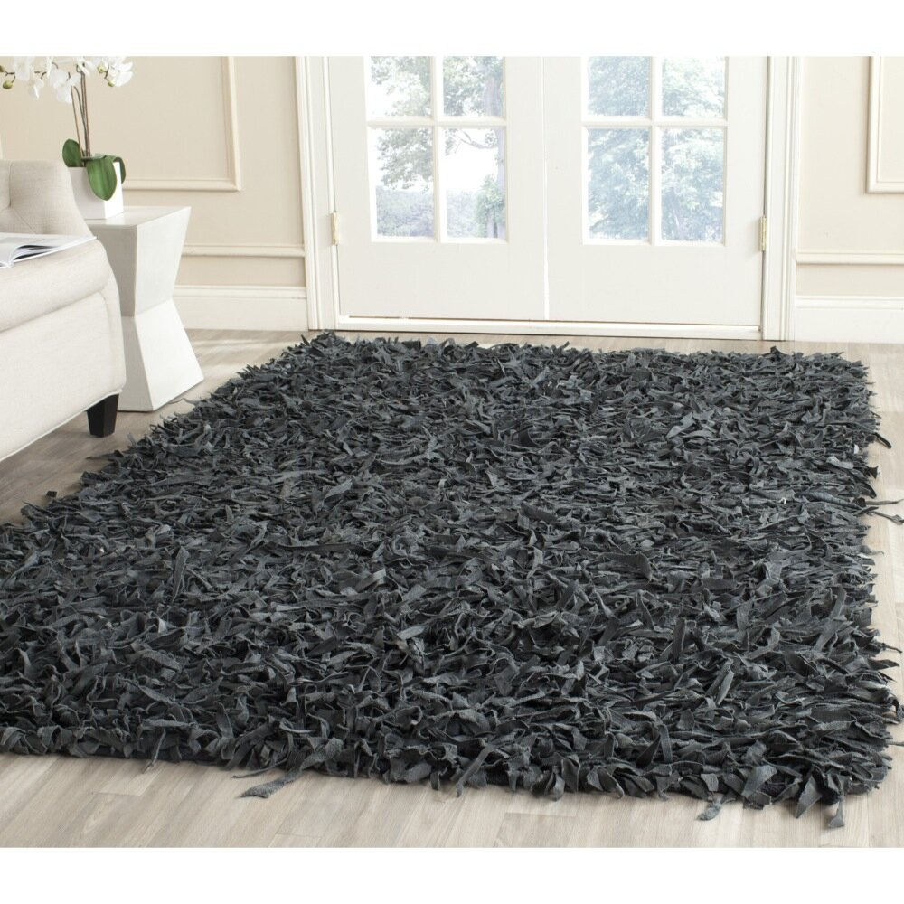 Safavieh Leather Shag Grey Rug Reviews Wayfair