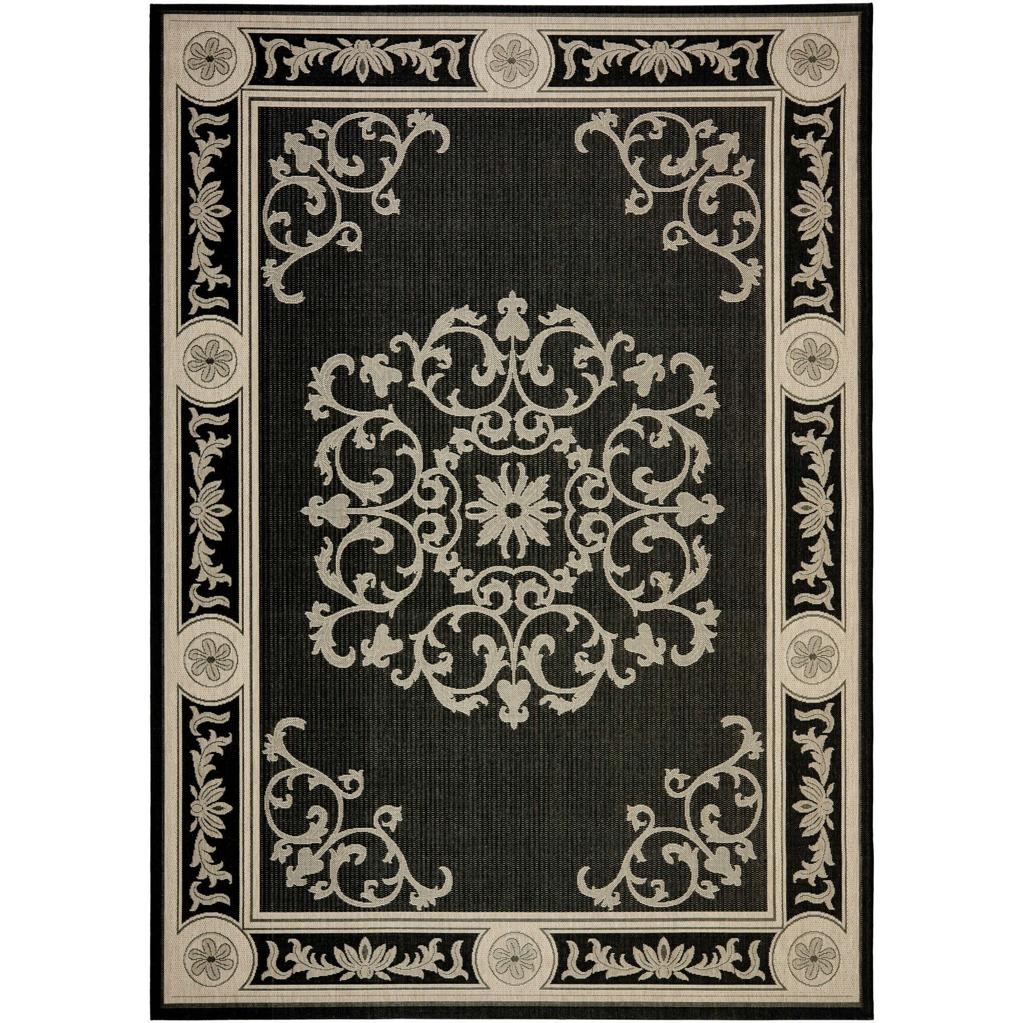 Safavieh Outdoor Living Cooley Black White Dining Set 5: Safavieh Courtyard Black & Sand Outdoor Area Rug & Reviews