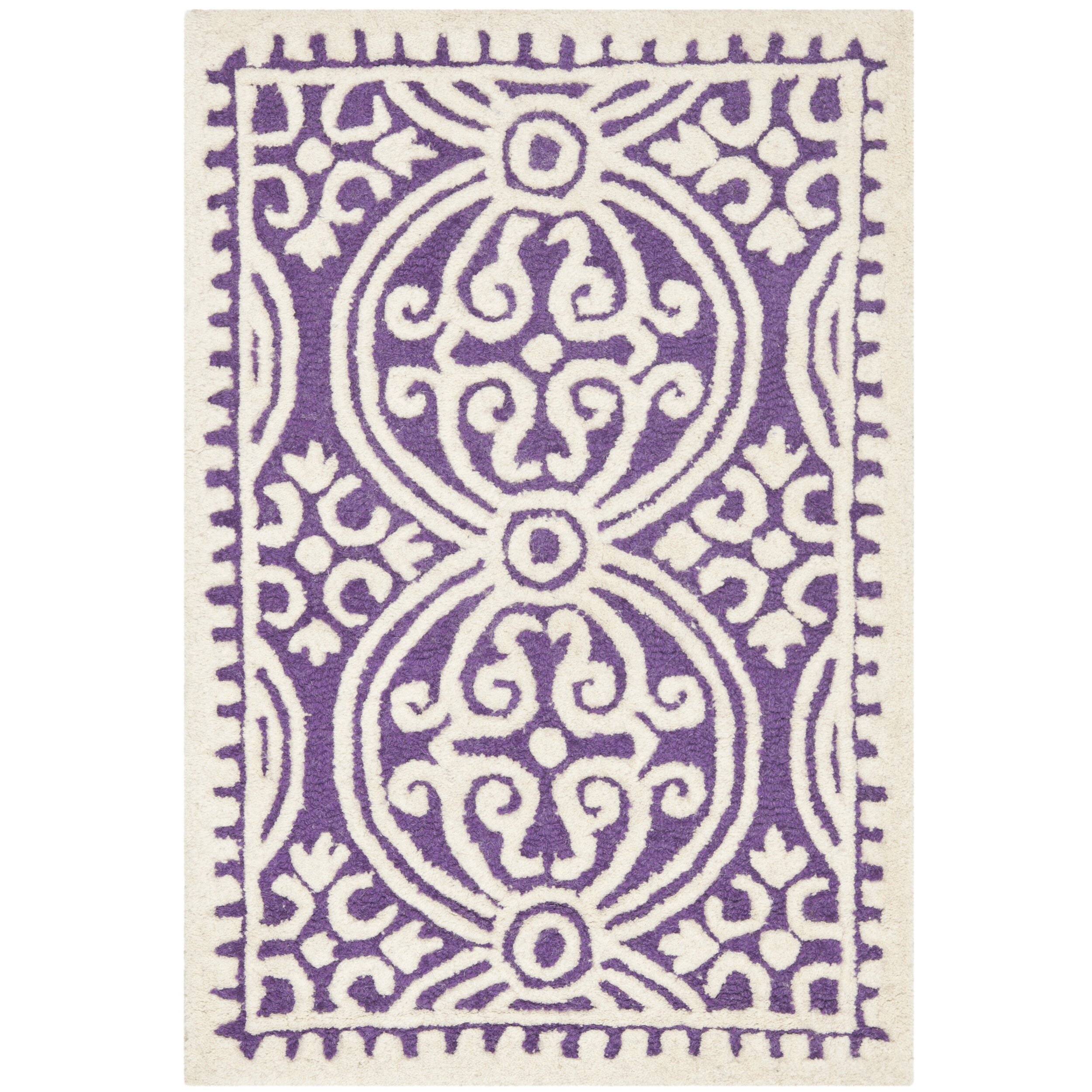Safavieh cambridge purple ivory area rug reviews wayfair for Rugs with purple accents