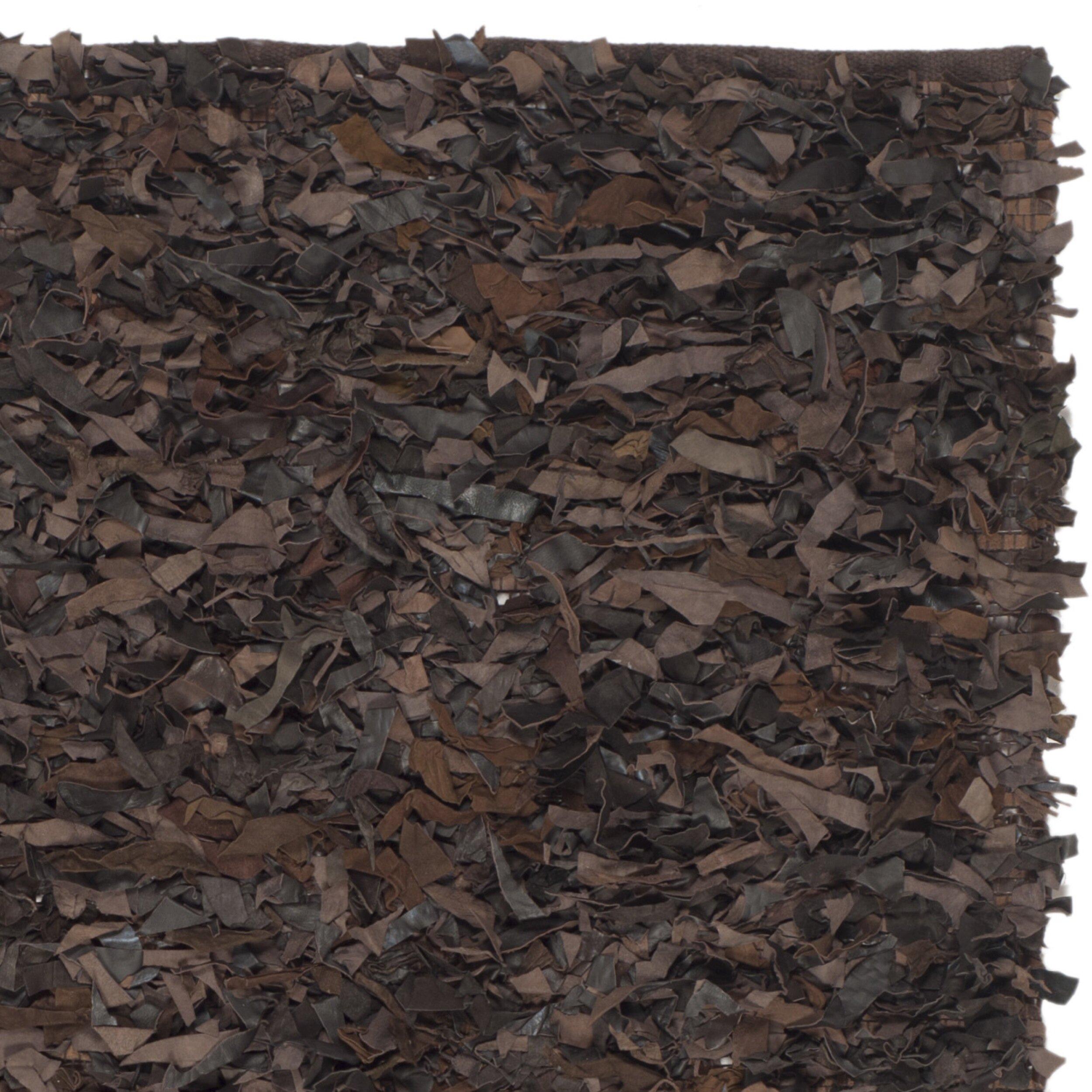 Safavieh Leather Shag Dark Brown Area Rug Amp Reviews