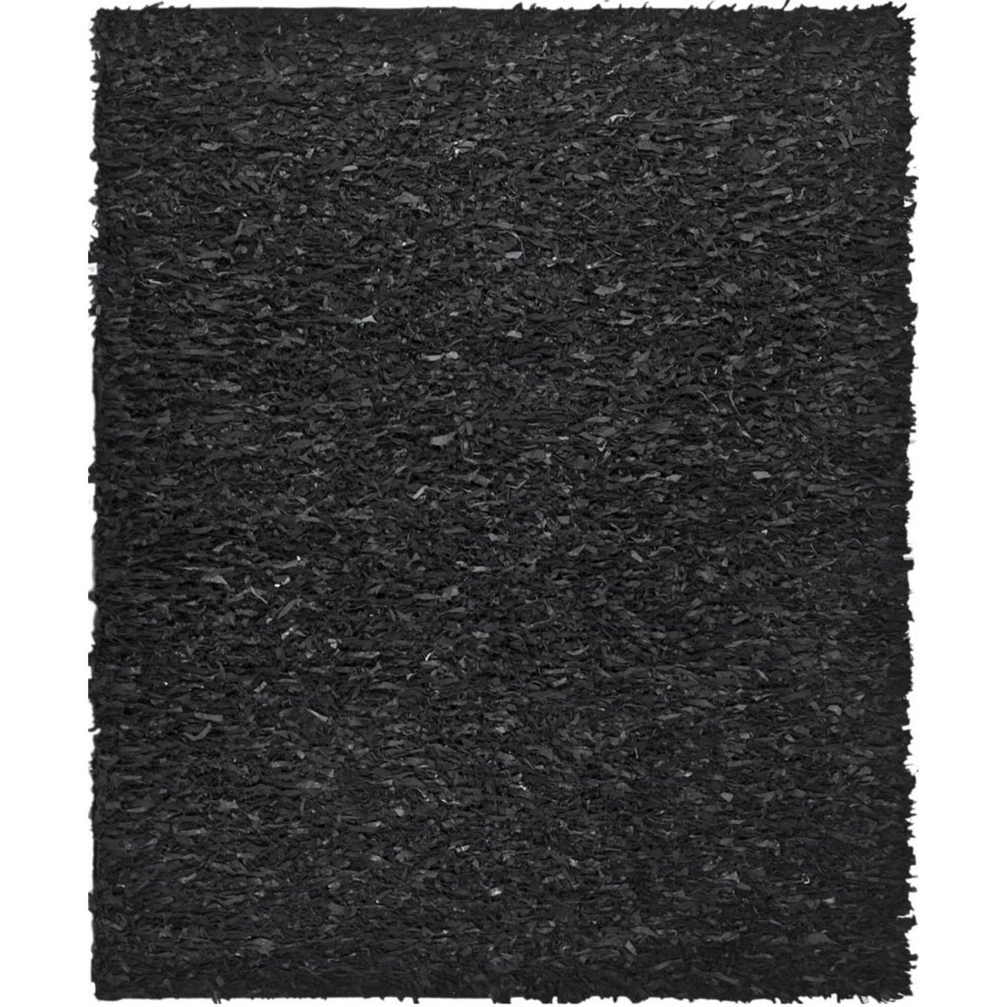 Safavieh Leather Shag Black Area Rug I Reviews Wayfair