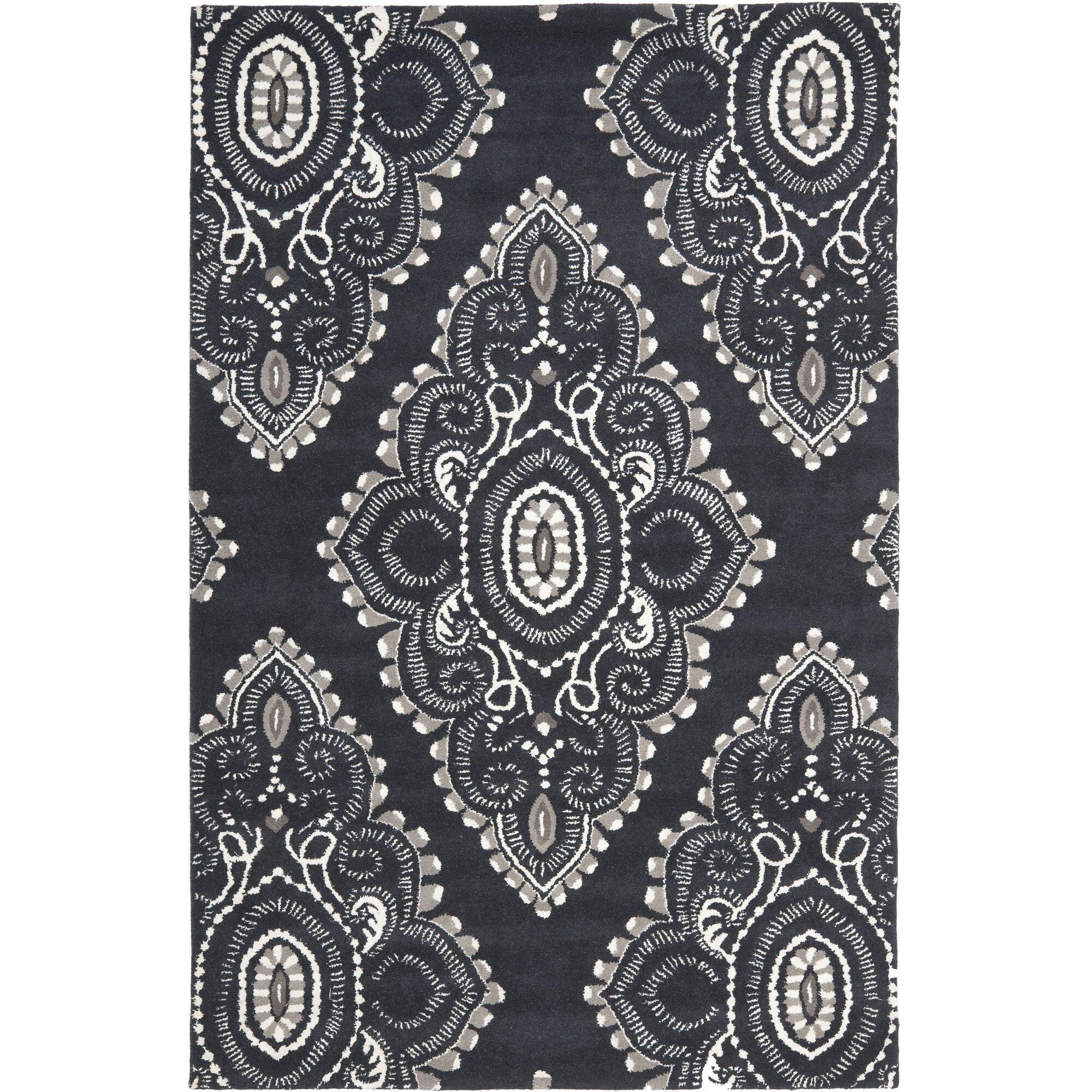 safavieh wyndham black gray rug reviews wayfair. Black Bedroom Furniture Sets. Home Design Ideas