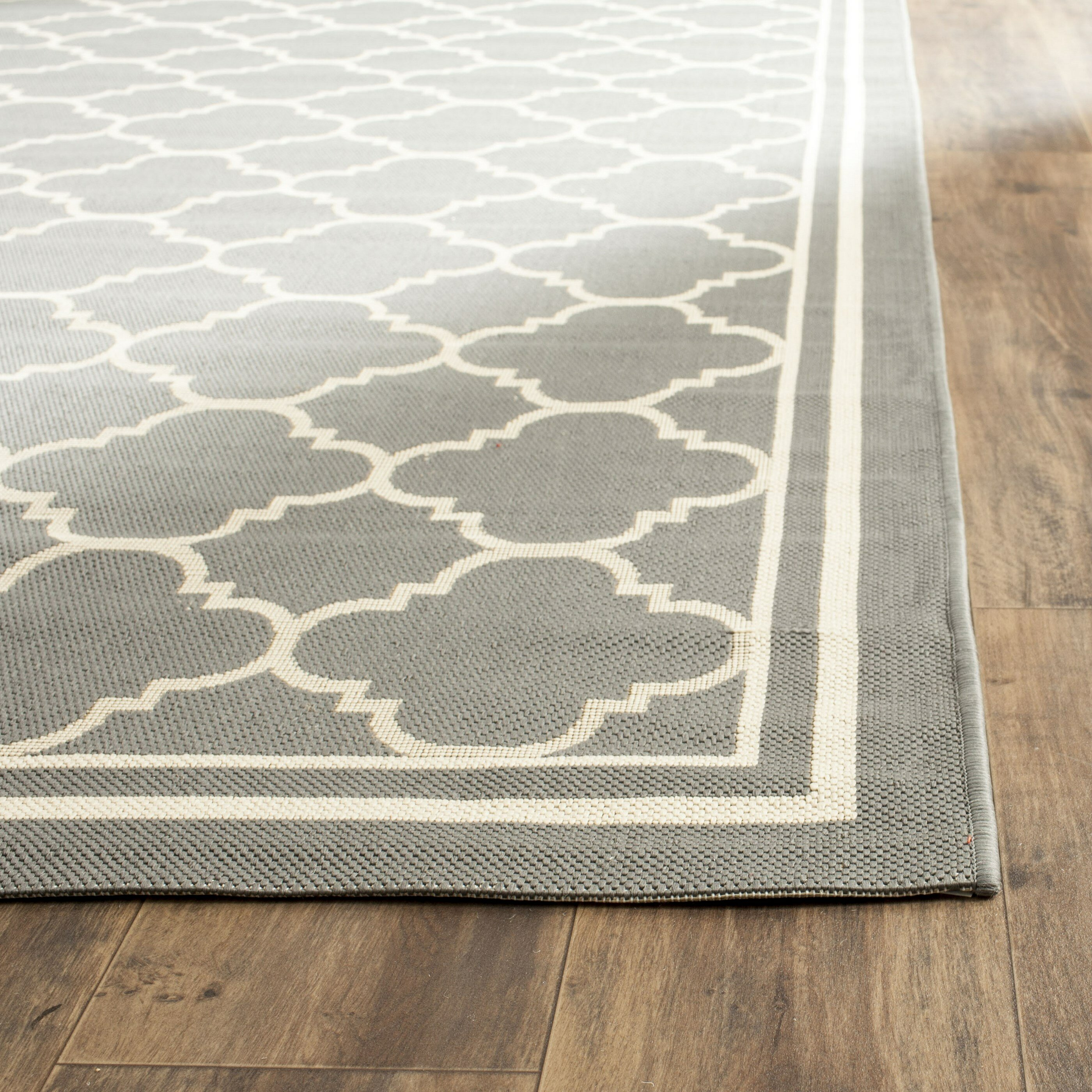 Safavieh courtyard anthracite beige indoor outdoor area for Indoor out door rugs