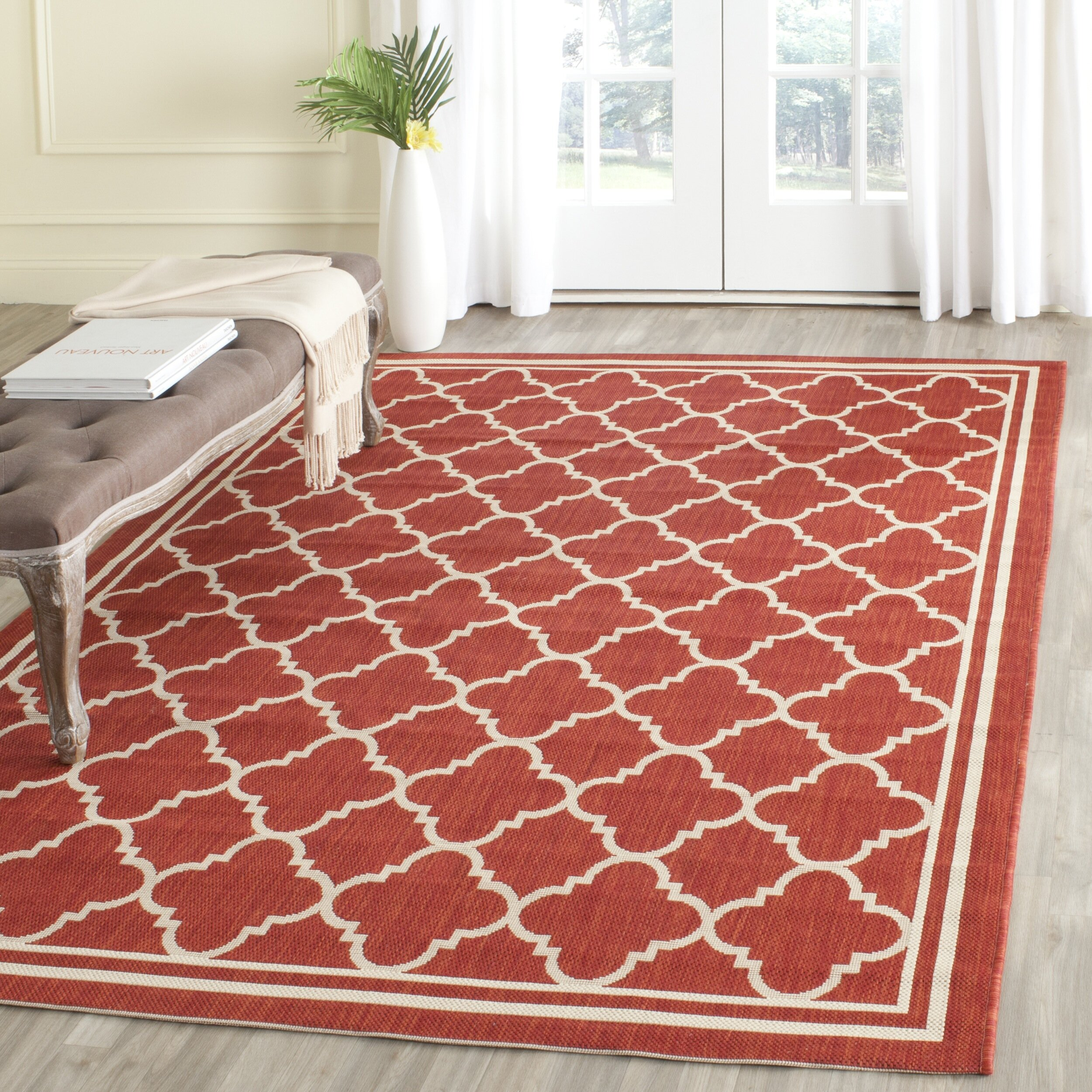 Safavieh courtyard red bone indoor outdoor area rug for Indoor out door rugs