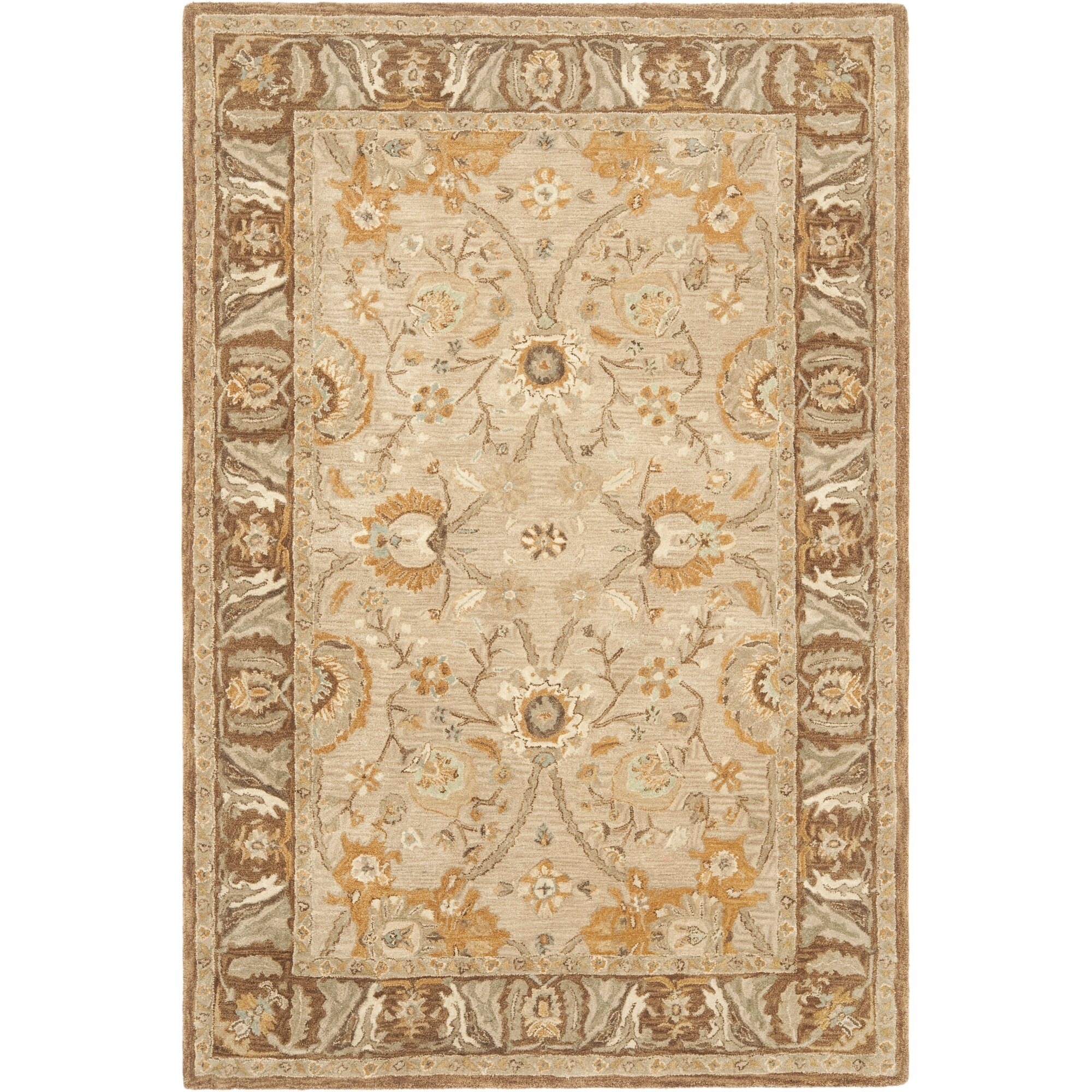 Safavieh anatolia dark grey brown area rug reviews wayfair for Grey and tan rug