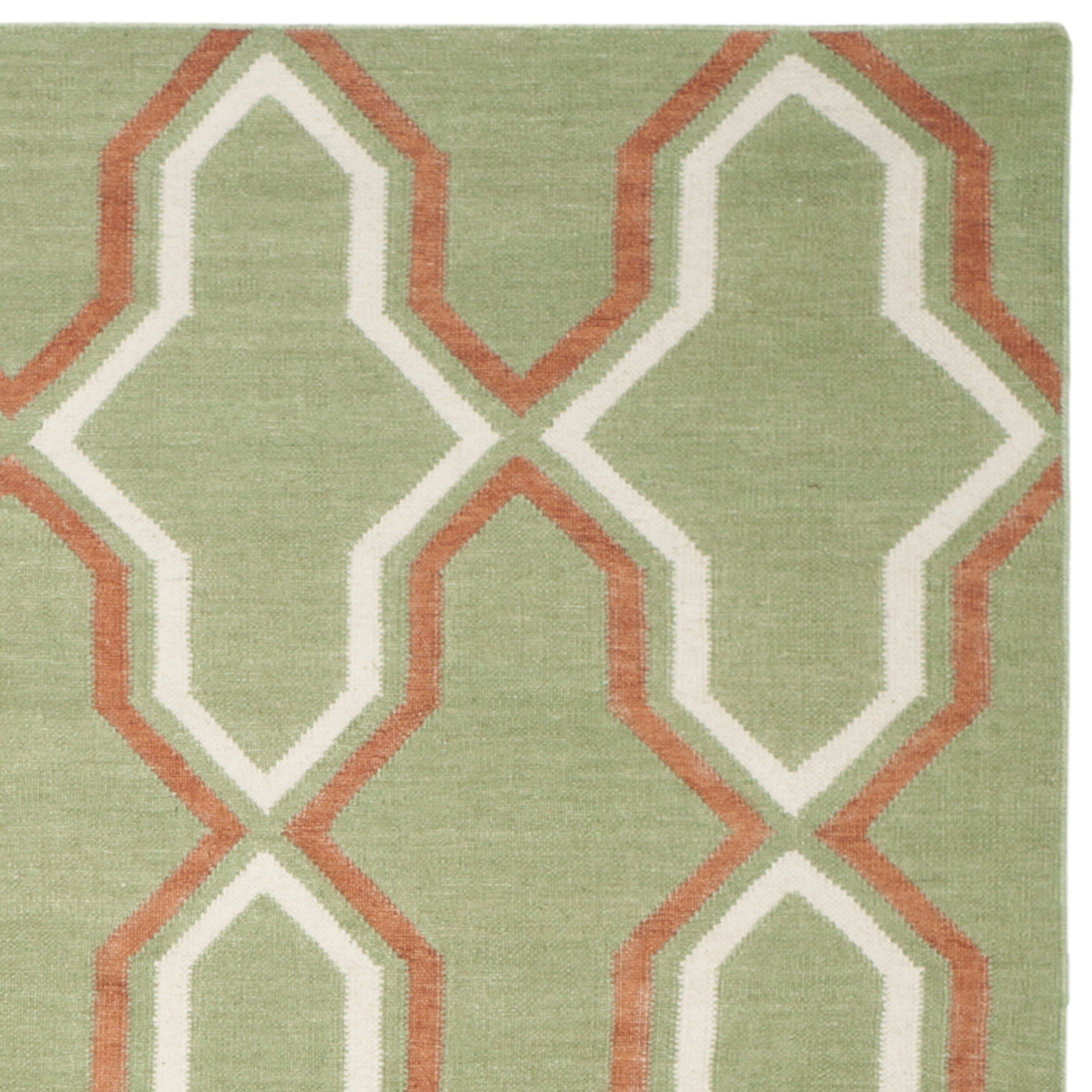 Safavieh Dhurries Green / Orange Contemporary Area Rug