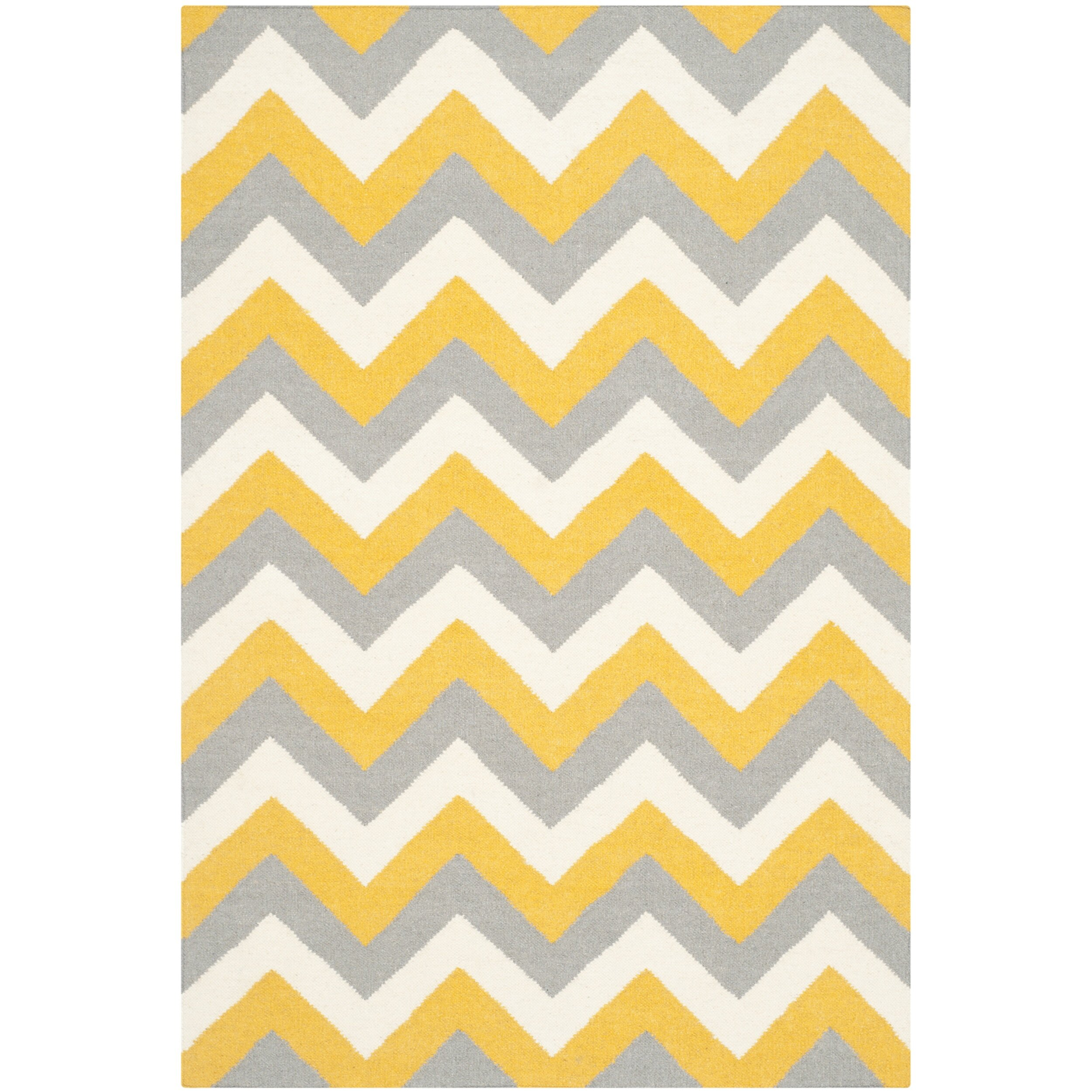 Chevron Kitchen Rug: Safavieh Dhurries Gold/Grey Chevron Area Rug & Reviews