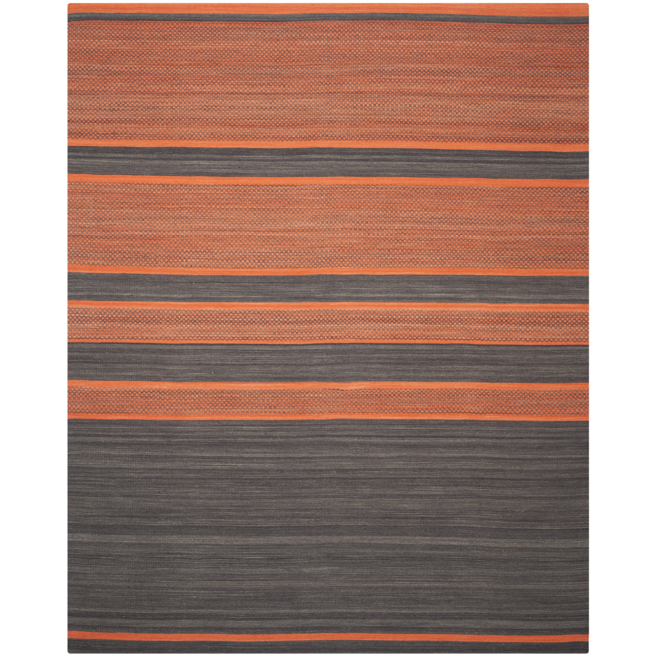 Safavieh Kilim Dark Grey / Orange Striped Rug & Reviews ...