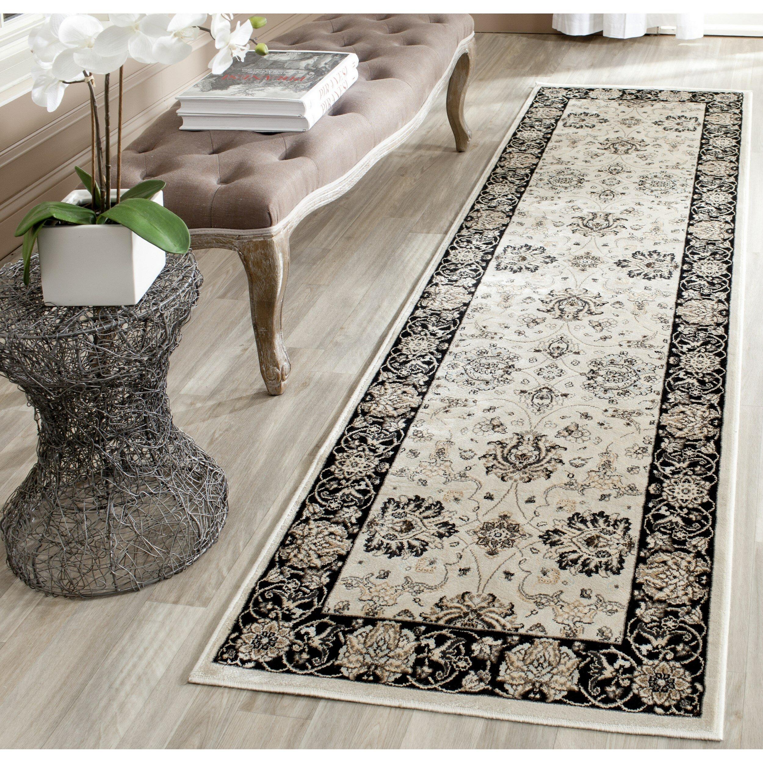 Area Rug Persian 9x12 Oriental Carpet Ivory Wool: Safavieh Persian Garden Ivory/Black Area Rug & Reviews