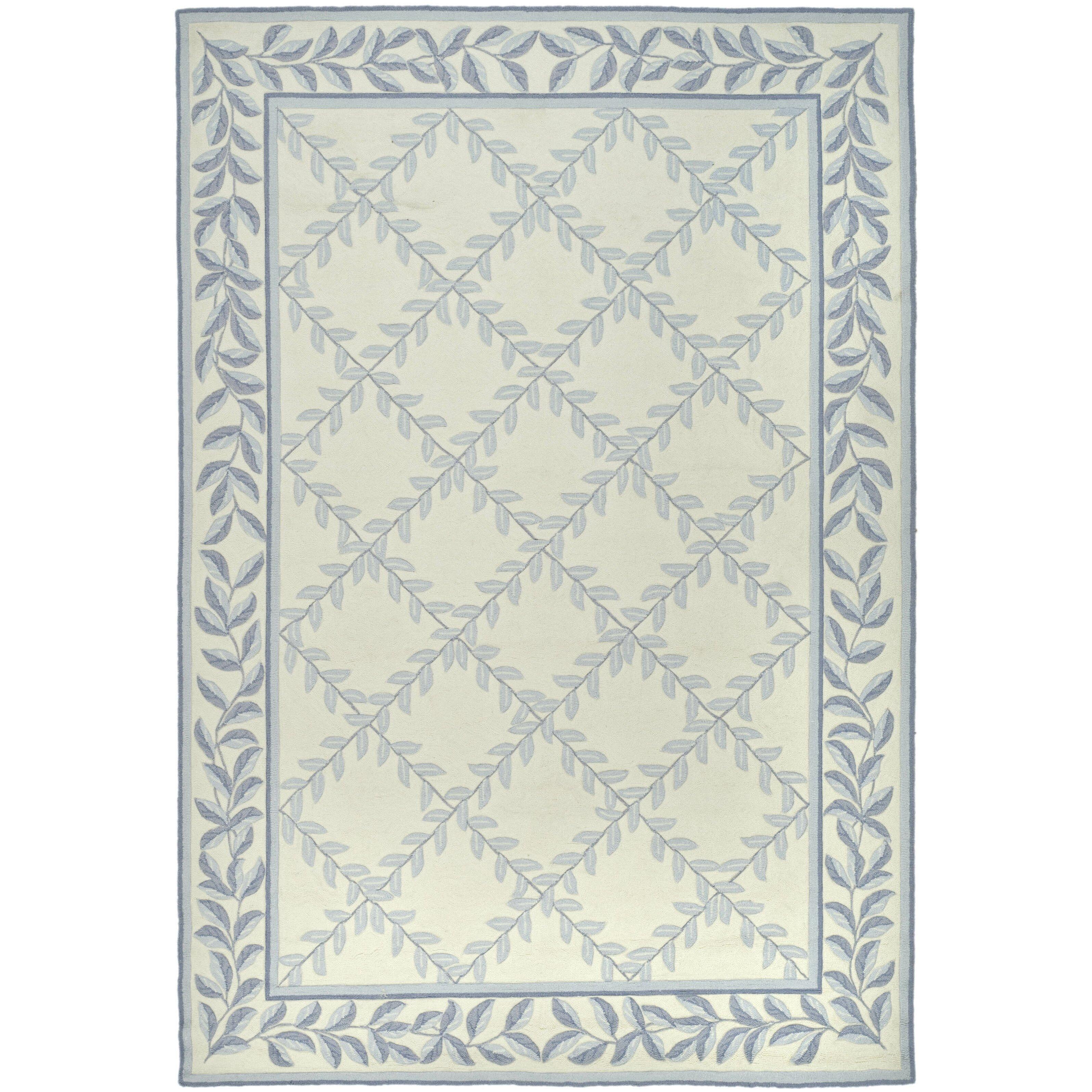 Safavieh durarug ivory light blue area rug reviews wayfair for Safavieh rugs